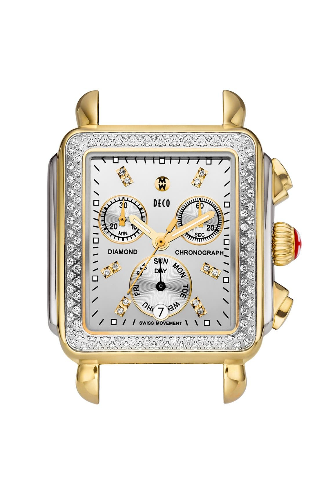 'Deco Diamond' Diamond Dial Two-Tone Watch Case, 33mm x 35mm,                         Main,                         color, Gold/ Silver