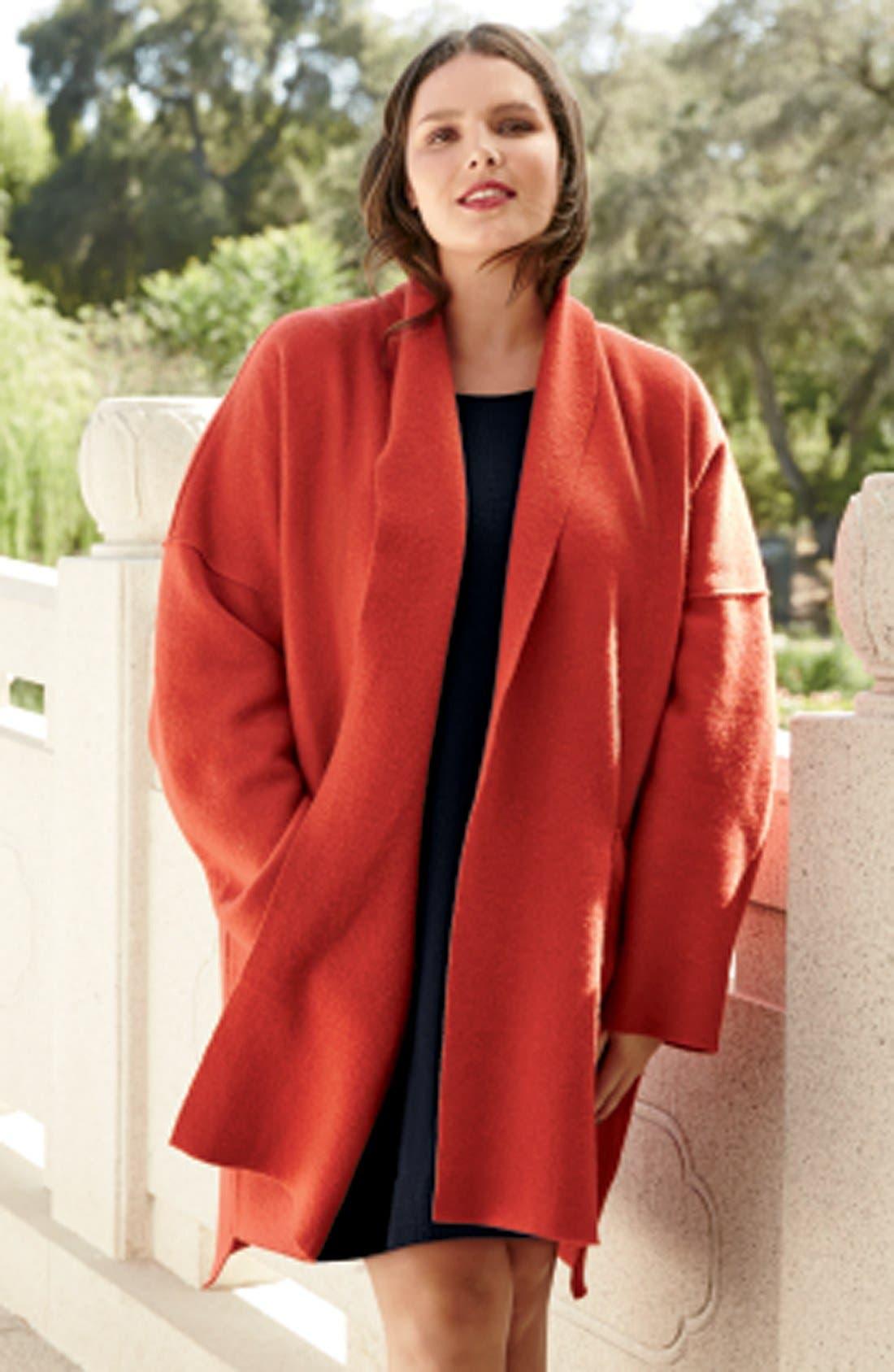 Alternate Image 5  - Eileen Fisher Boiled Wool Kimono Coat (Plus Size)