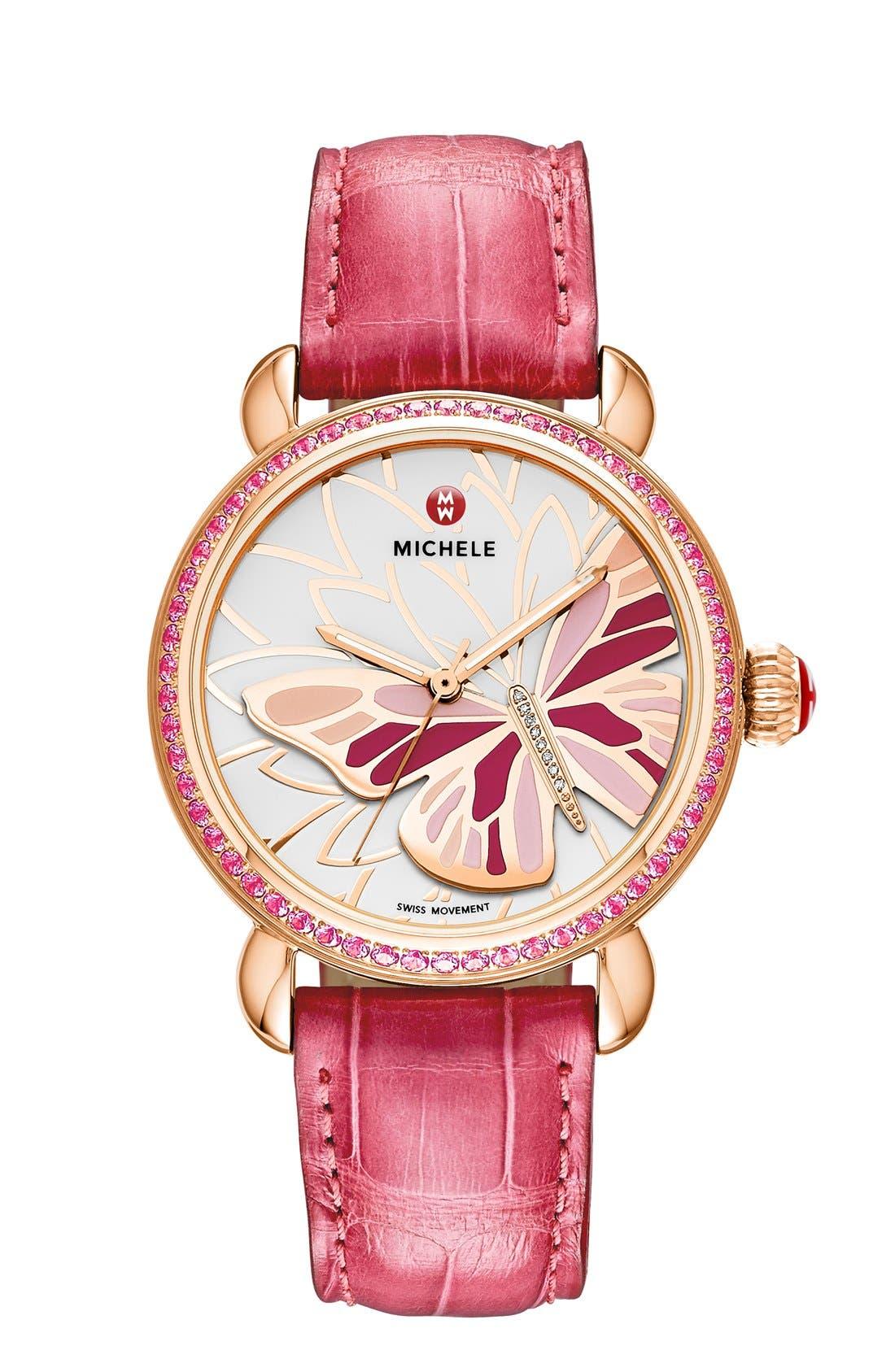 Alternate Image 2  - MICHELE 'Garden Party' Topaz Bezel Butterfly Dial Watch Case, 36mm (Limited Edition)