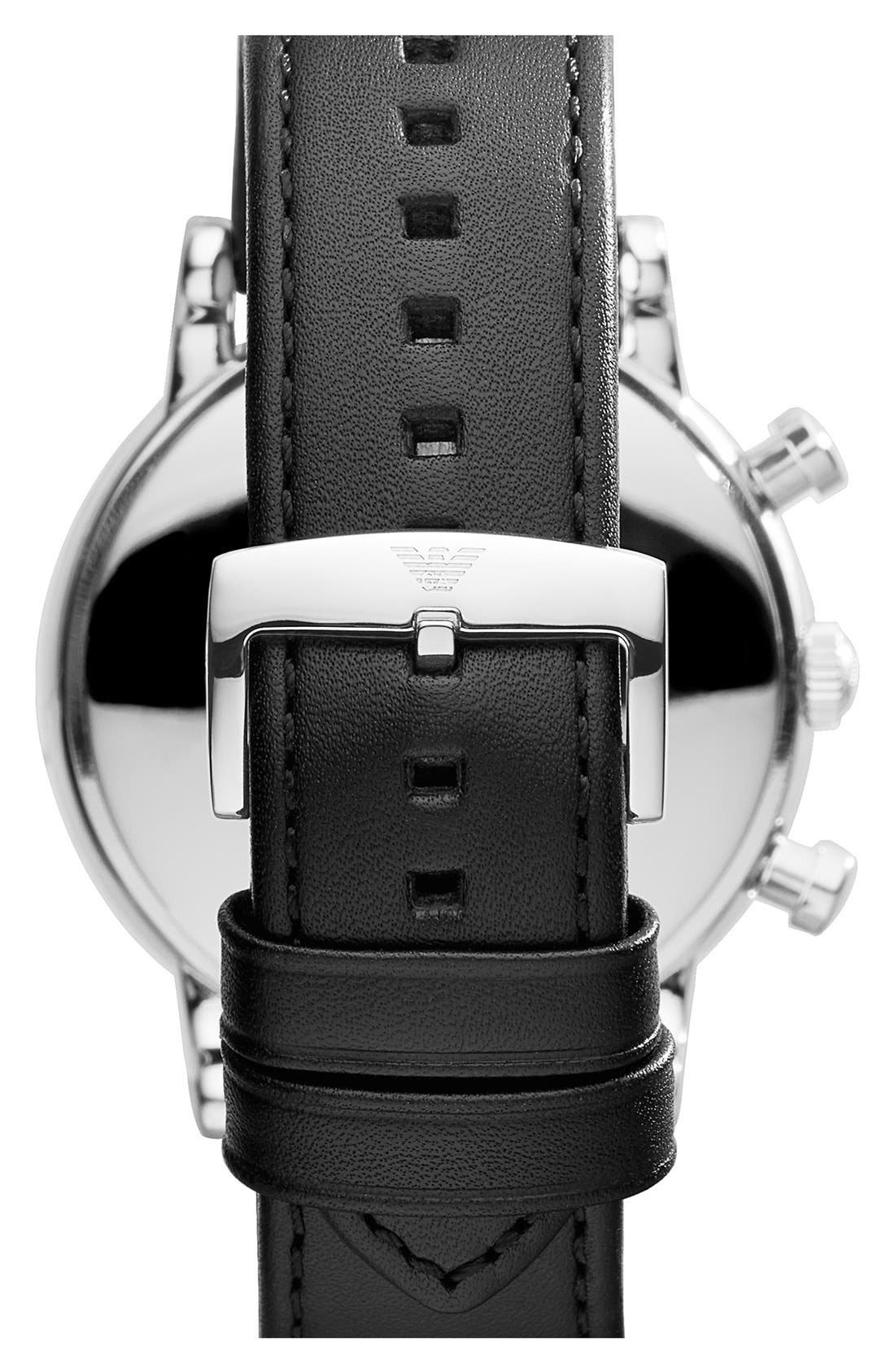 Chronograph Leather Strap Watch, 46mm,                             Alternate thumbnail 2, color,                             Black/ Silver