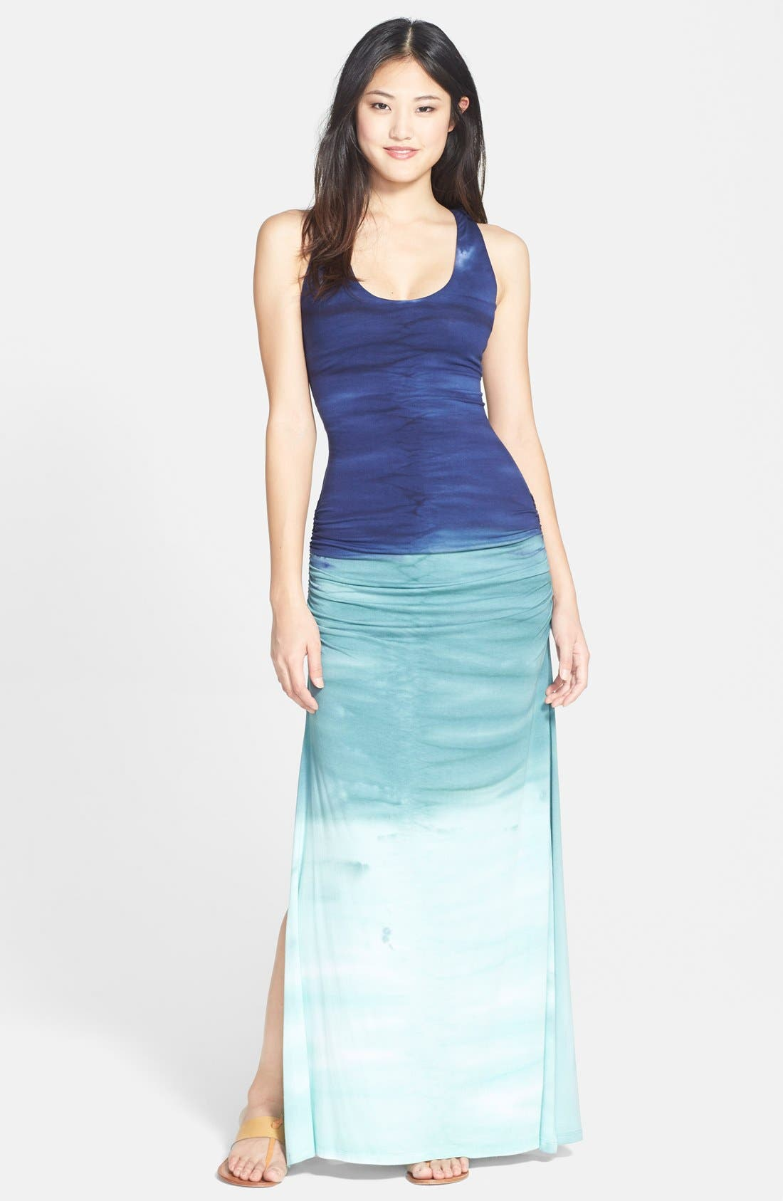 Main Image - Sky Crochet Back Ruched Tie-Dye Maxi Dress