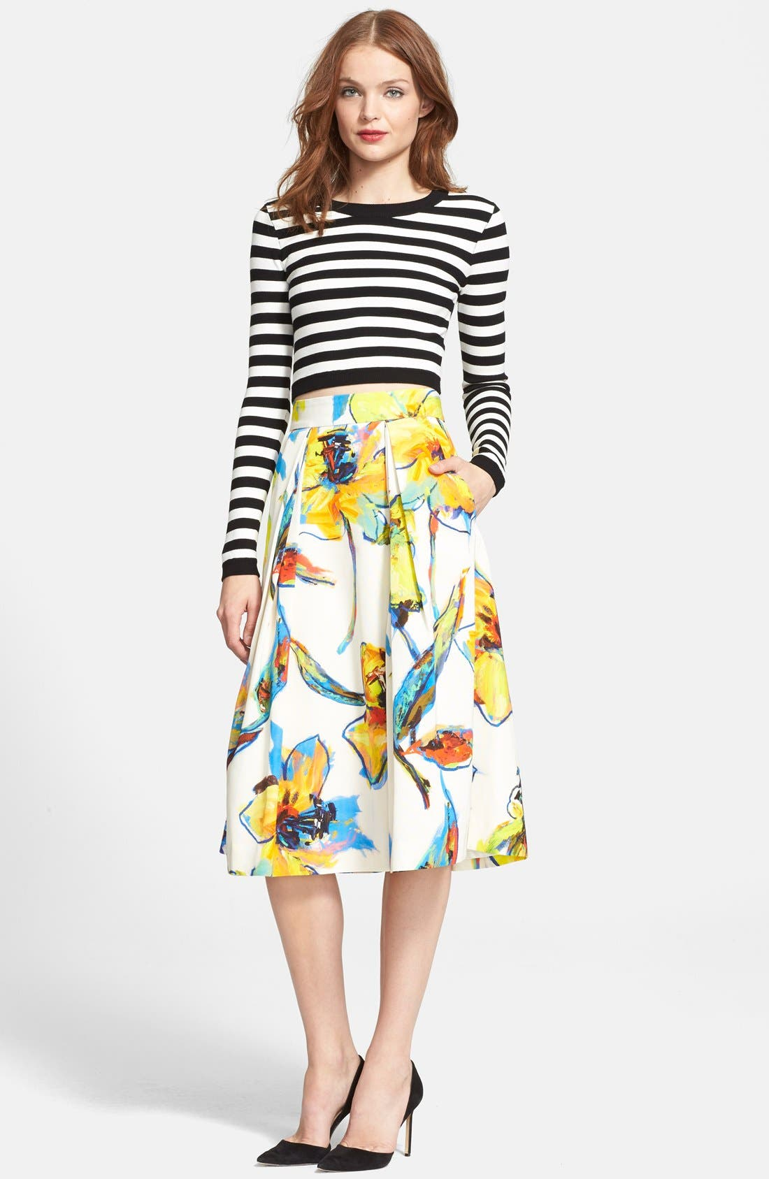 Alternate Image 4  - Milly 'Luna' Floral Print Pleated Midi Skirt