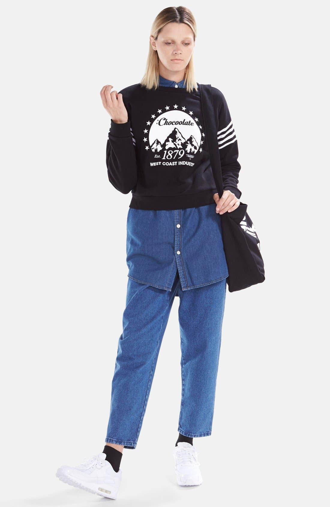 Alternate Image 2  - :CHOCOOLATE Two Pocket Denim Shirtdress (Women)
