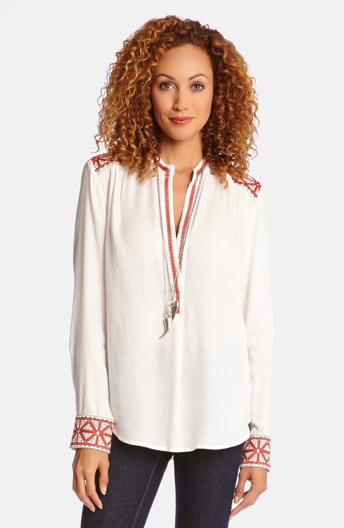 Alternate Image 1 Selected - Karen Kane Embroidered Trim Blouse