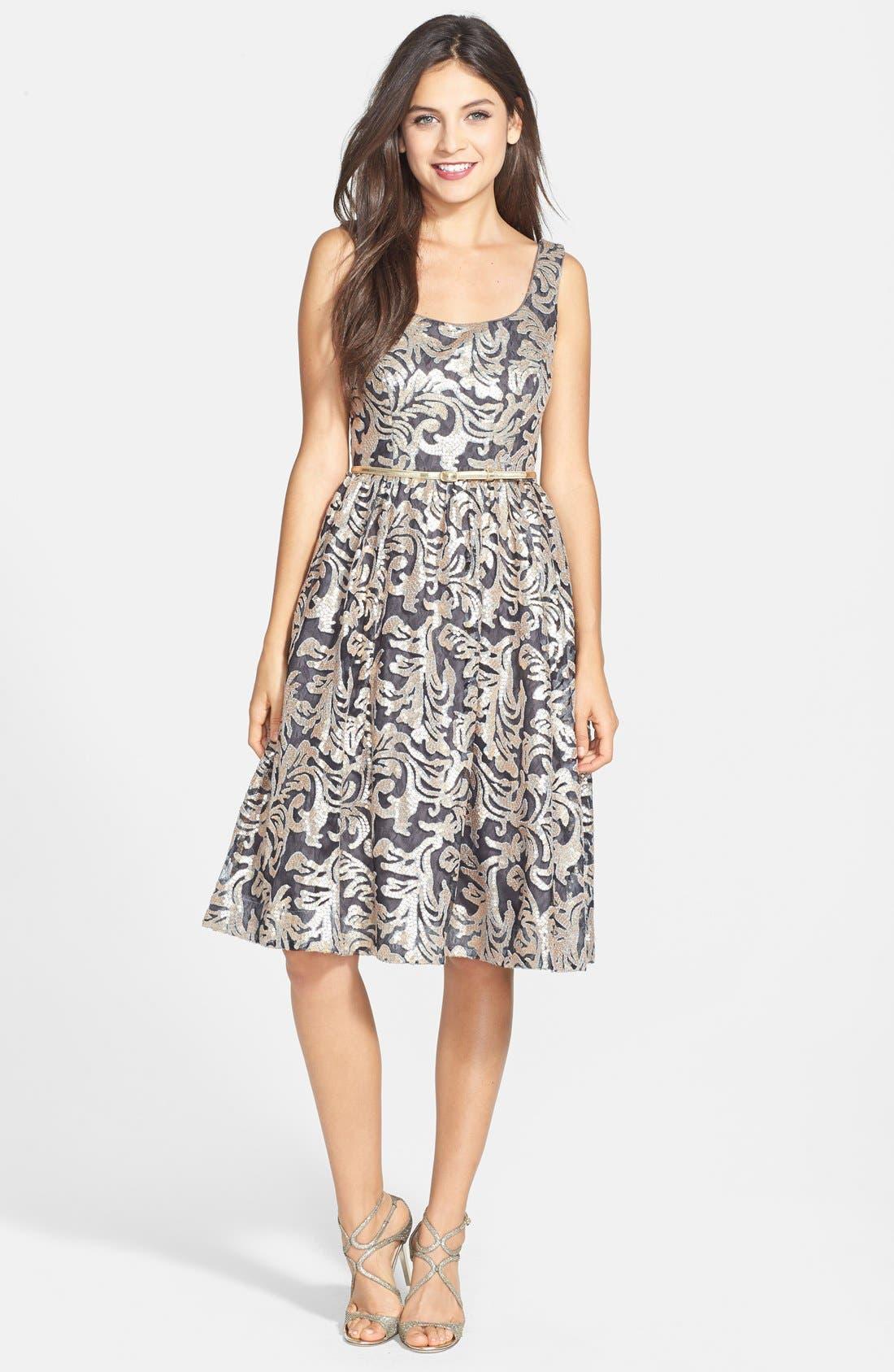 Alternate Image 3  - Donna Morgan Sequin Fit & Flare Midi Dress