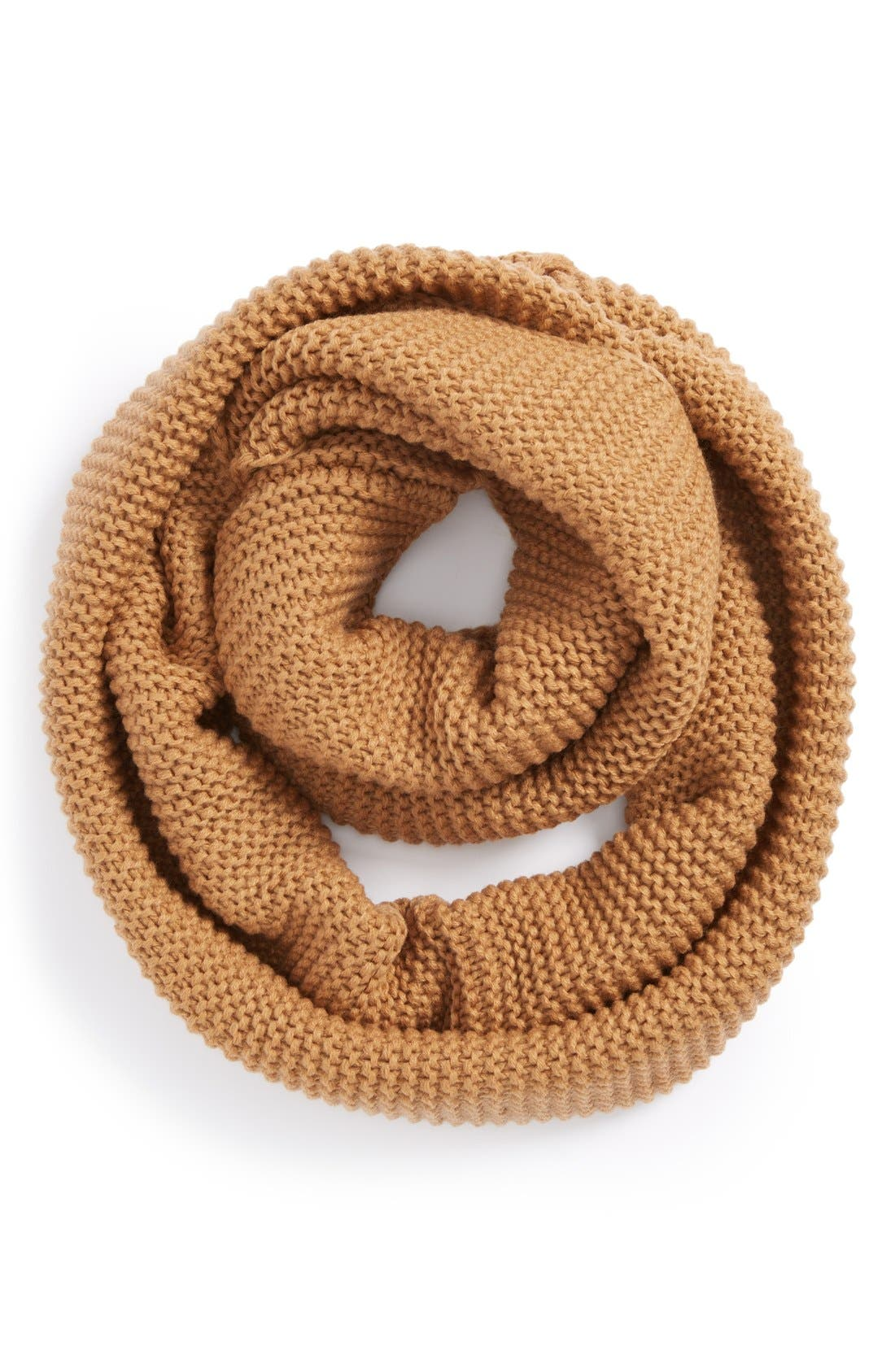 Ribbed Infinity Scarf,                         Main,                         color, Camel