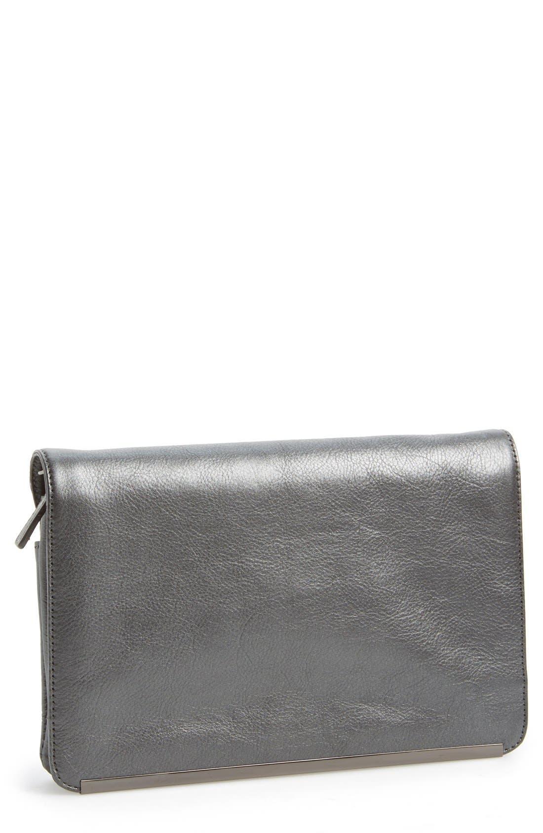 Main Image - Halogen® Leather Foldover Crossbody Clutch