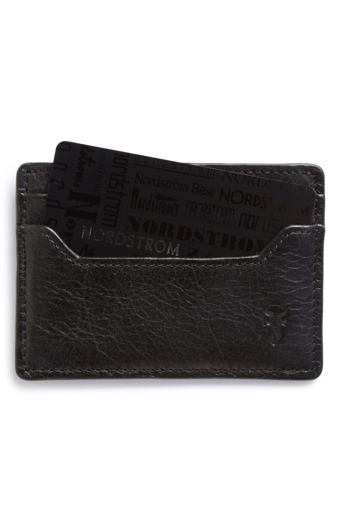 'Logan' Leather Card Holder,                         Main,                         color, Black