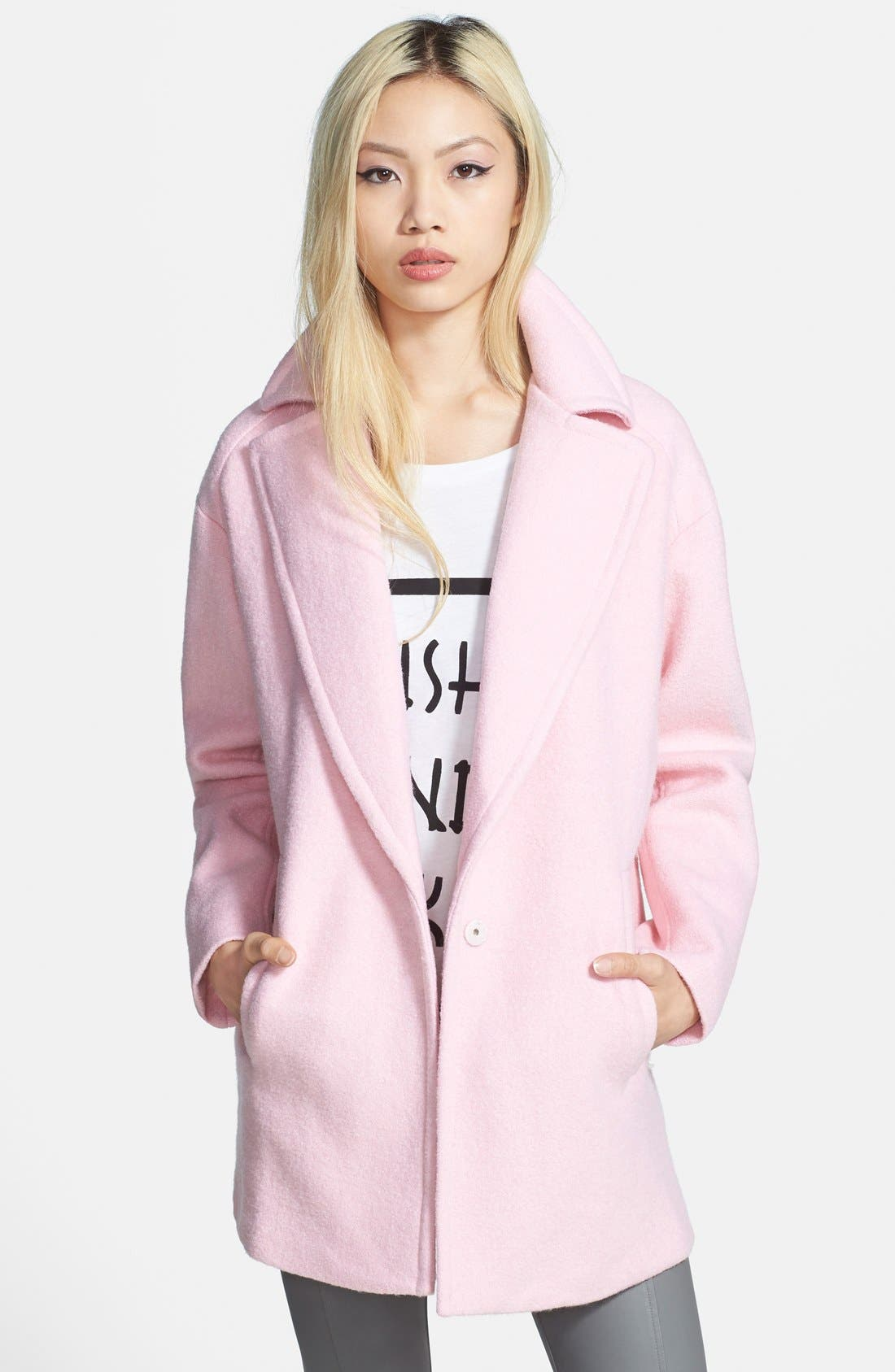 Single Button Car Coat,                         Main,                         color, Baby Pink