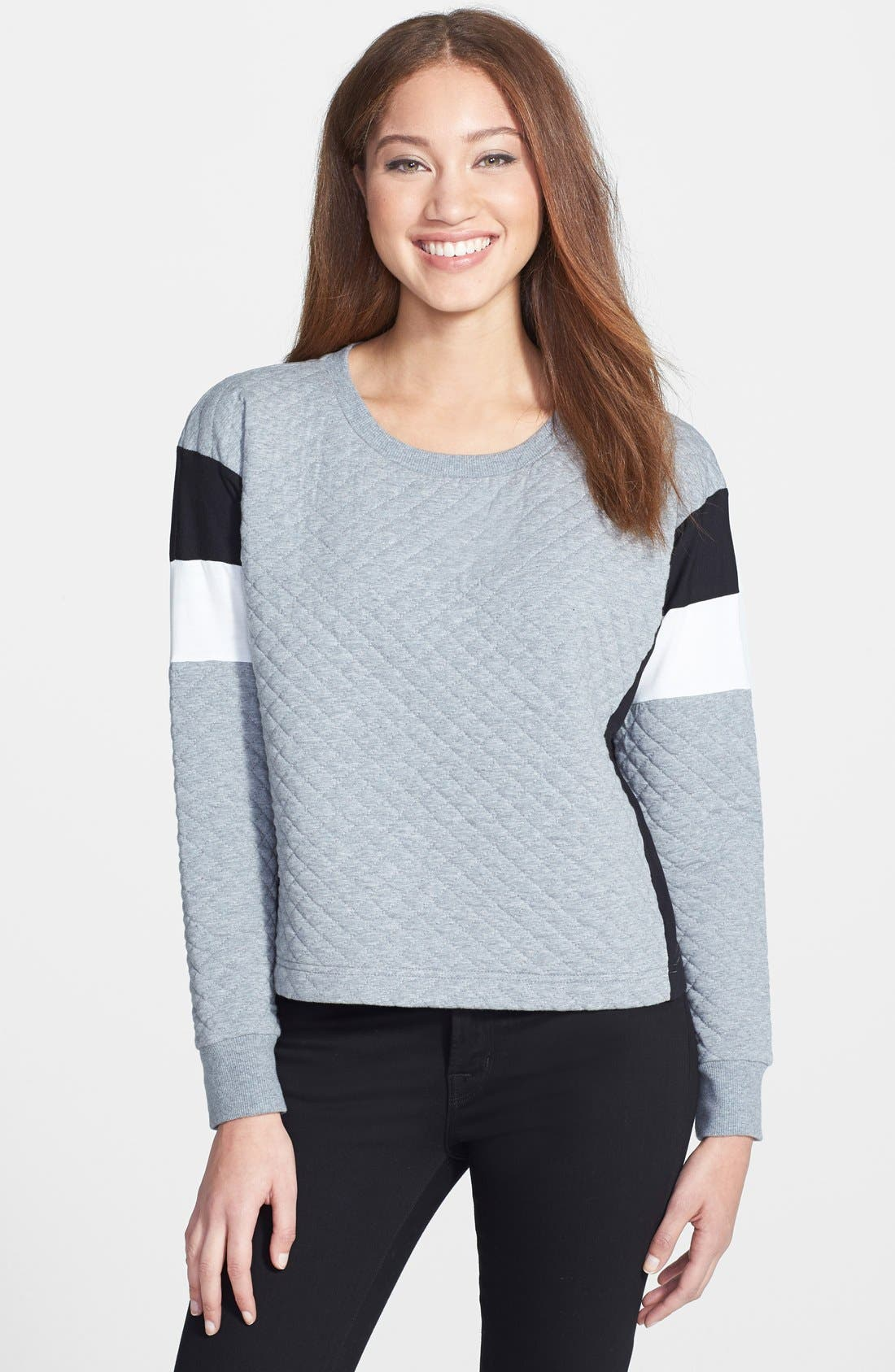 Main Image - Two by Vince Camuto Colorblock Quilted Sweatshirt