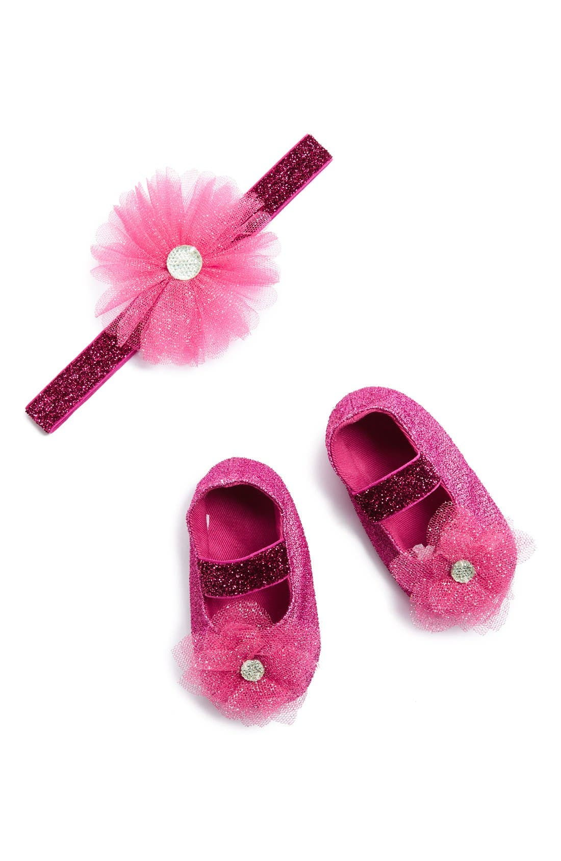 PLH Bows & Laces 'Tutu Flower' Glitter Headband & Crib Shoes (Baby Girls)