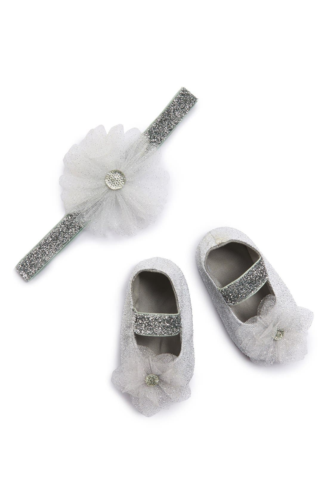 Main Image - PLH Bows & Laces 'Tutu Flower' Glitter Headband & Crib Shoes (Baby Girls)