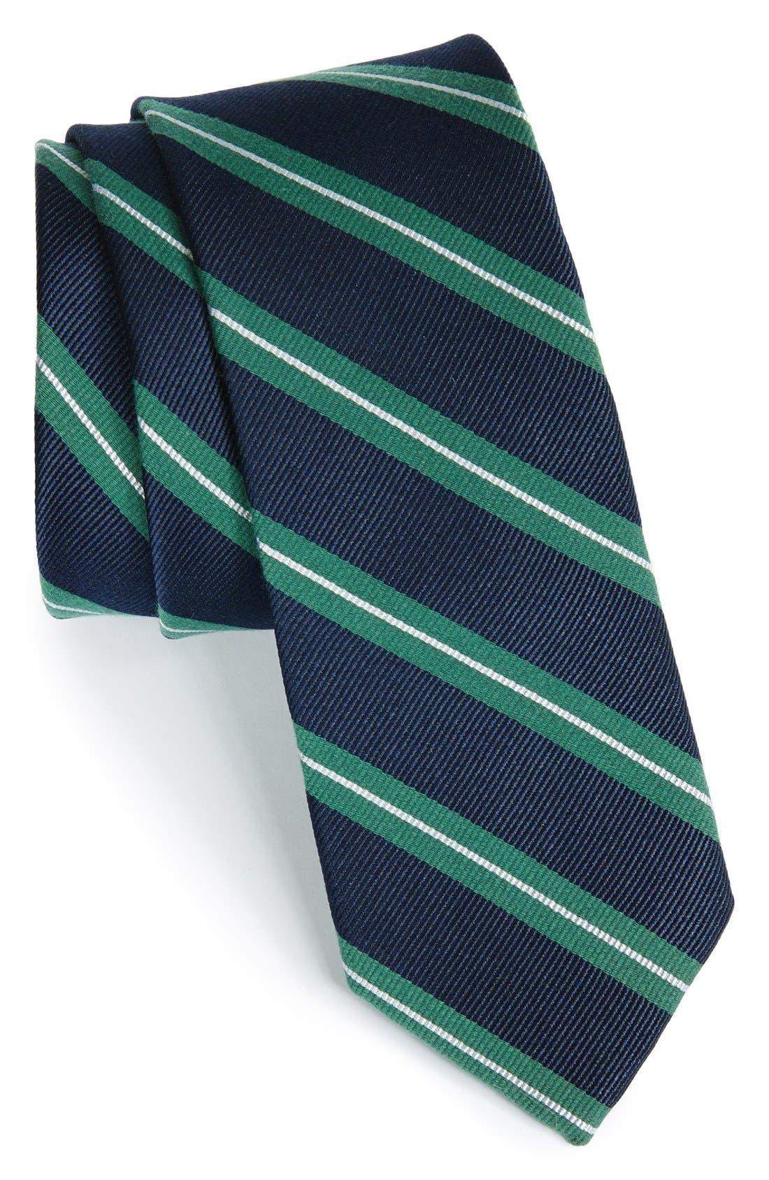 Main Image - 1901 'Morrison Stripe' Woven Silk & Cotton Tie