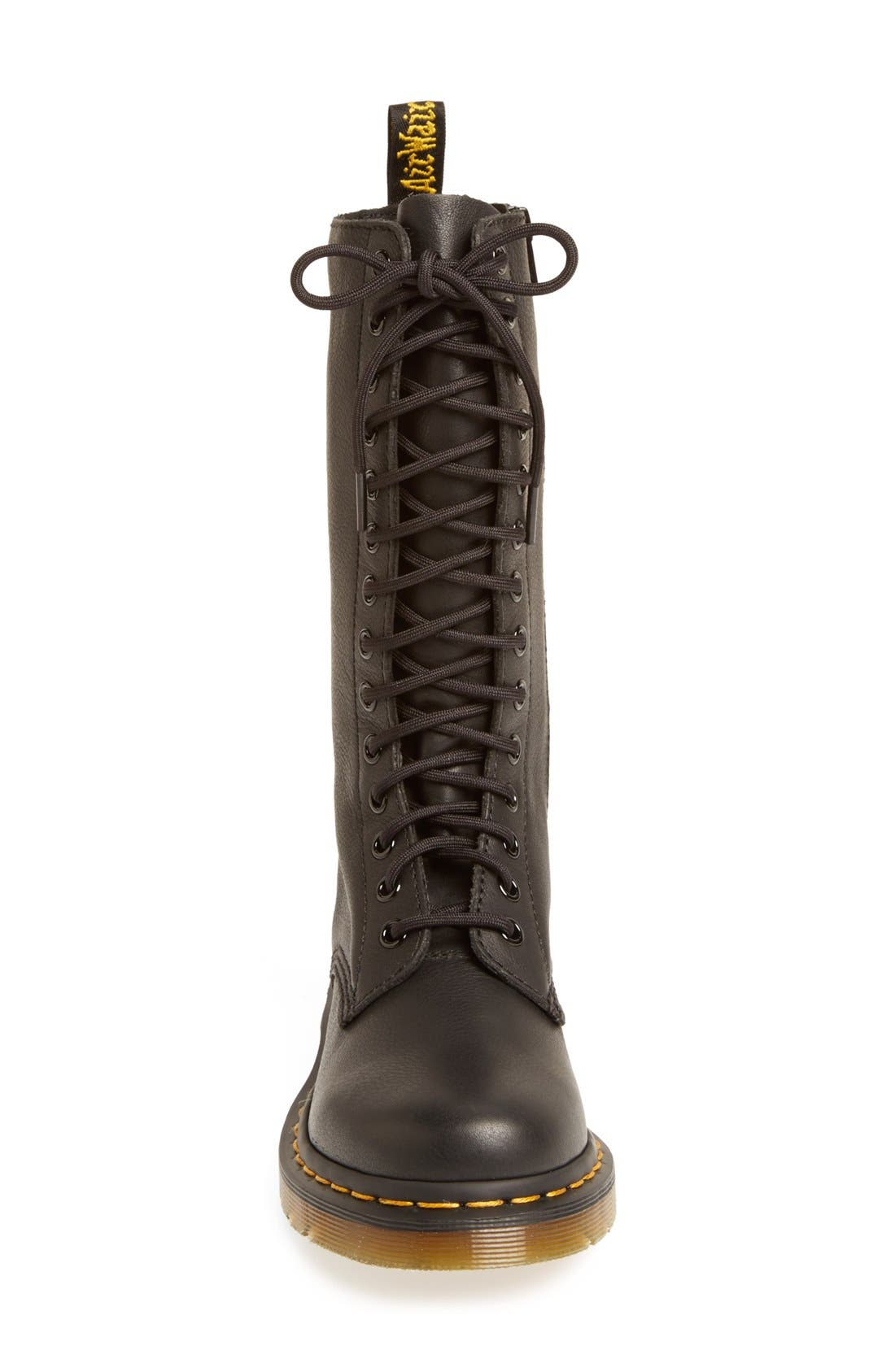 '1B99' Leather Boot,                             Alternate thumbnail 3, color,                             Black Virginia