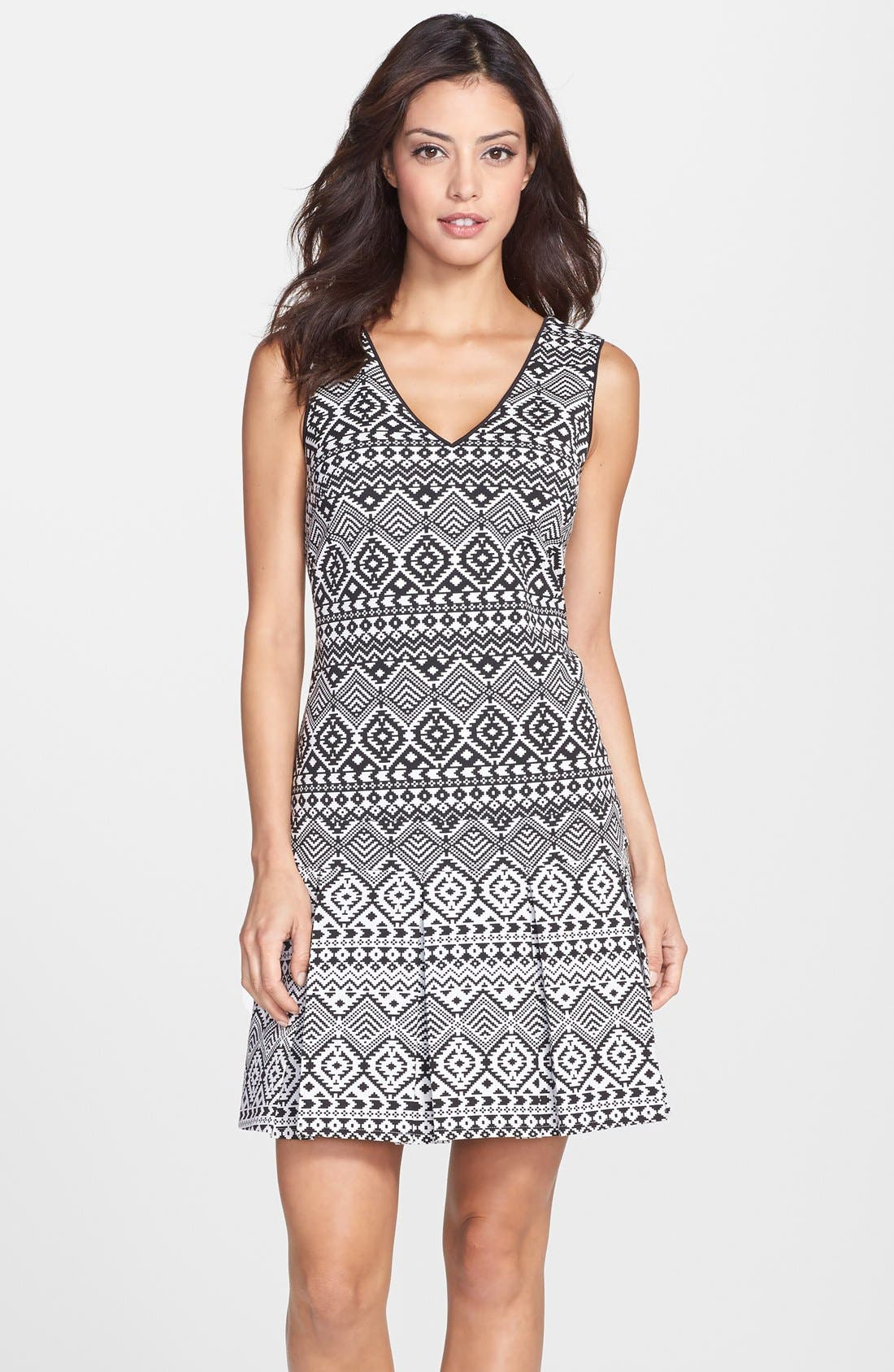 Alternate Image 1 Selected - Jessica Simpson Geo Jacquard Drop Waist Dress