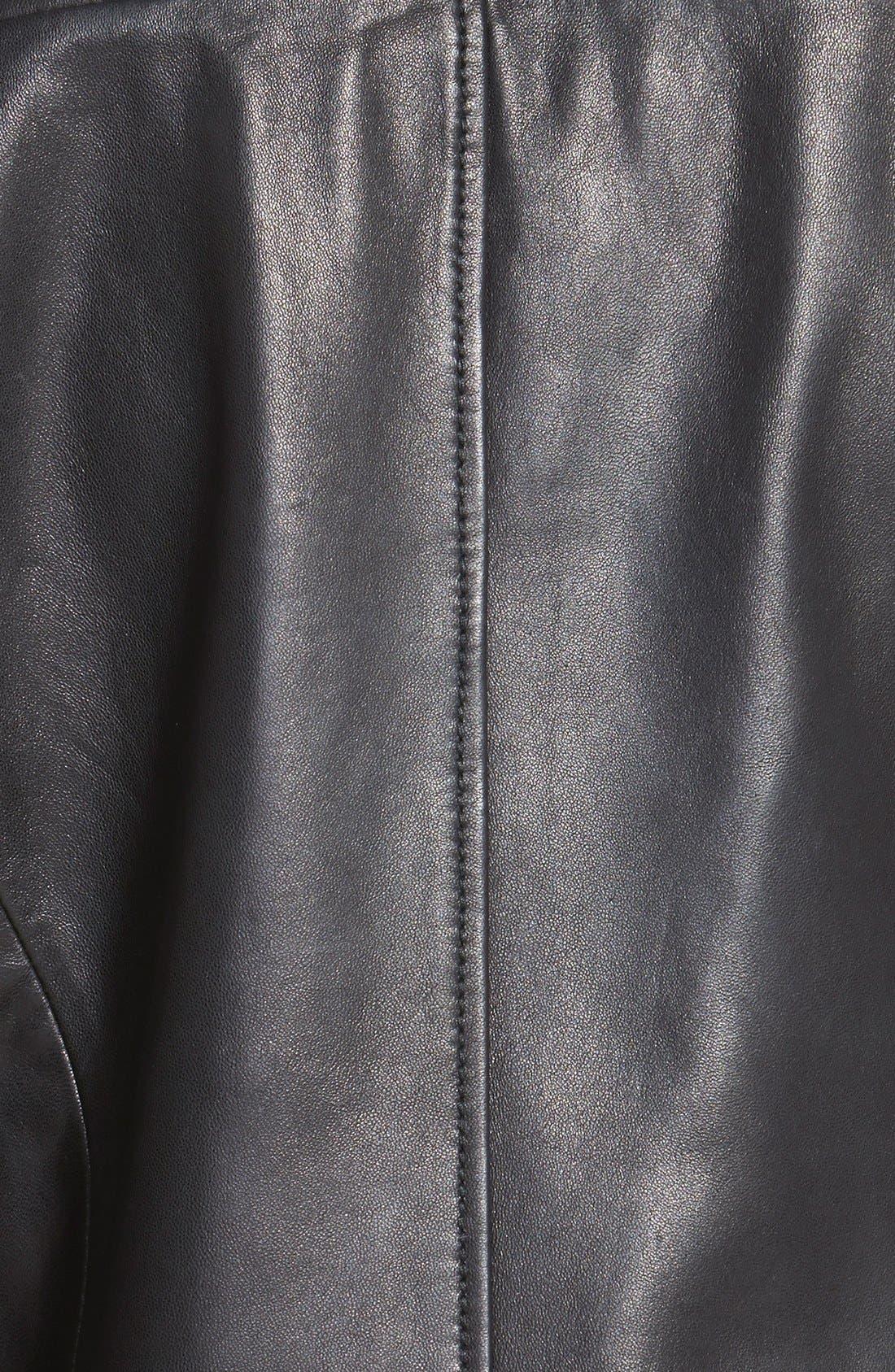 Alternate Image 3  - MICHAEL Michael Kors Knit Collar Asymmetrical Leather Jacket