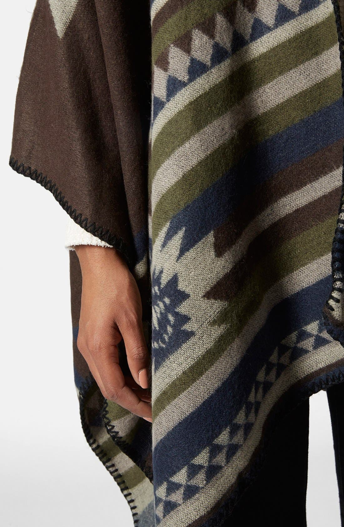 Geo Print Poncho,                             Alternate thumbnail 4, color,                             Brown