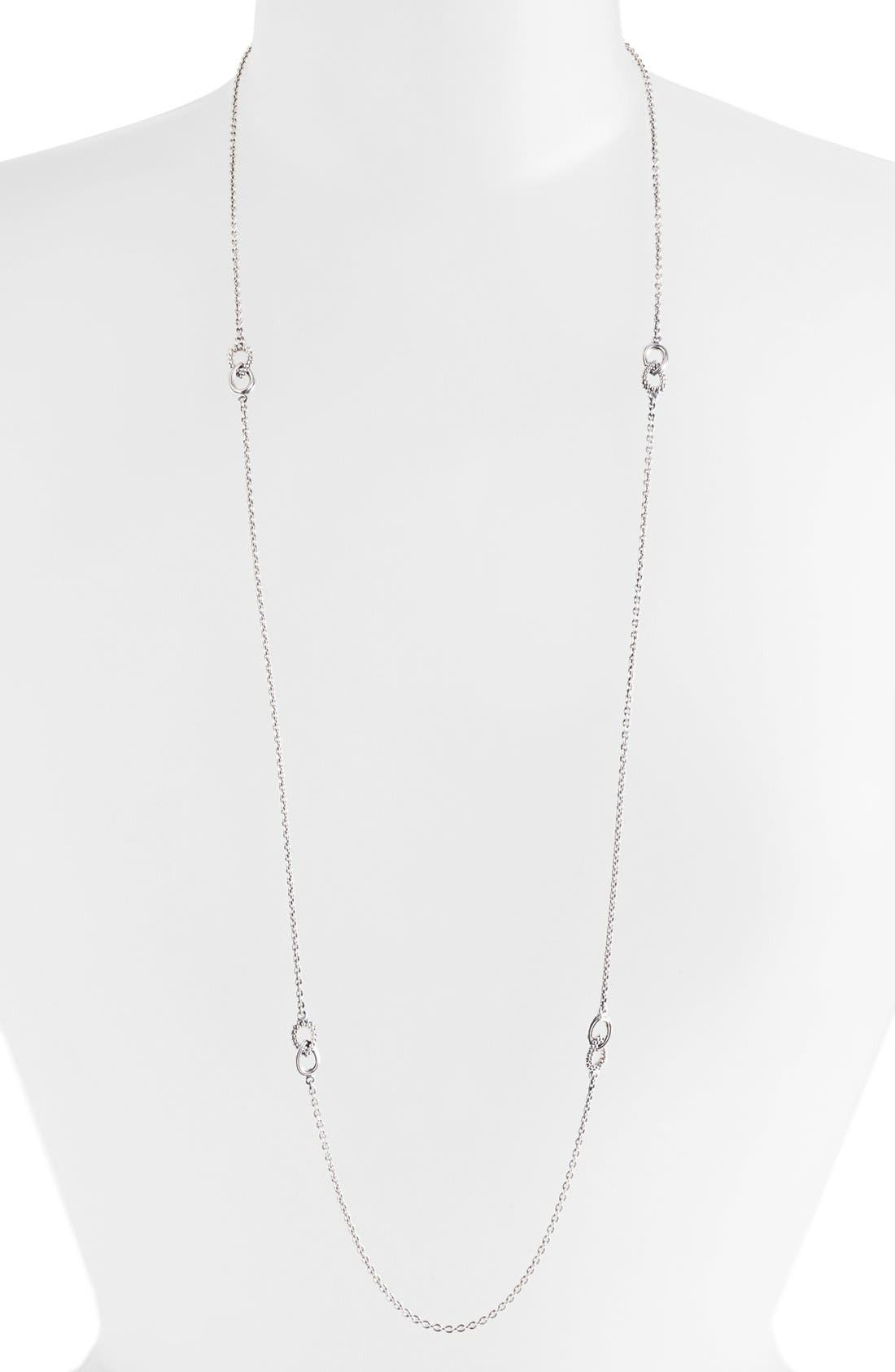 'Soiree' Long Station Necklace,                         Main,                         color, Silver