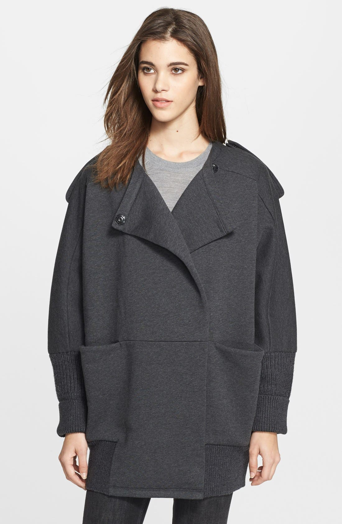 Main Image - Burberry Brit Oversize Knit Trim Jacket