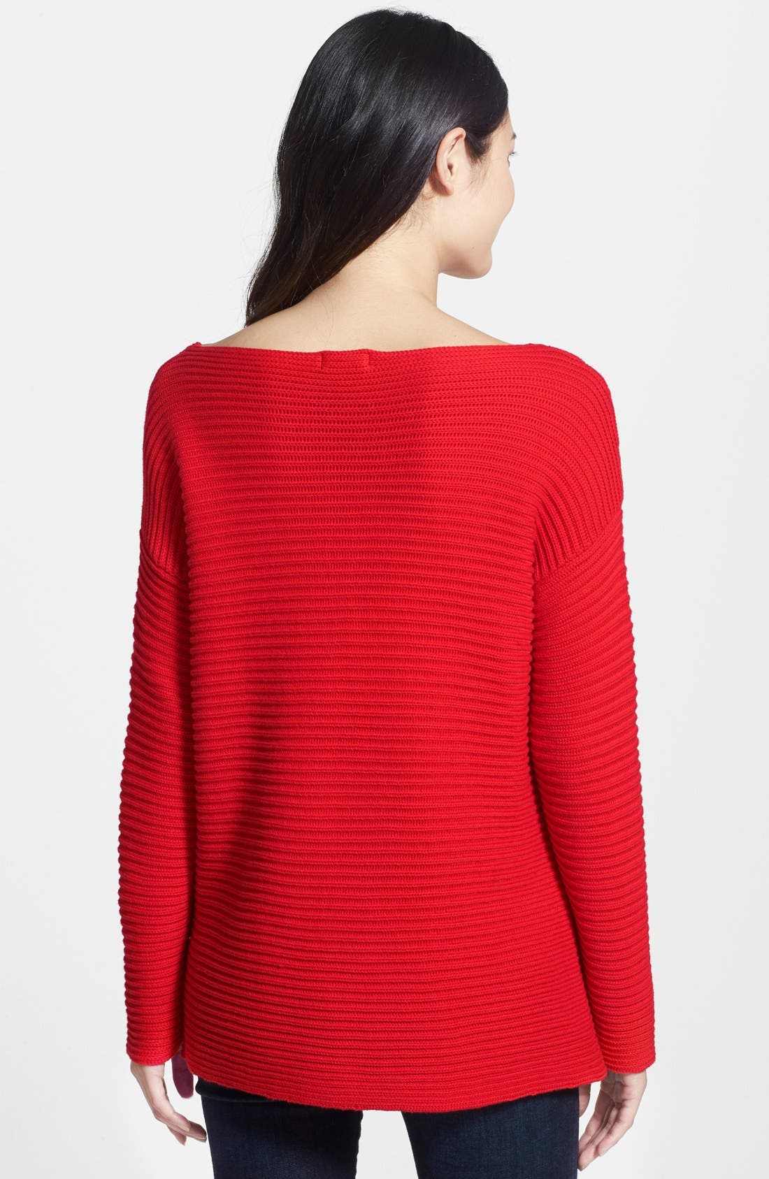 Boatneck Sweater,                             Alternate thumbnail 2, color,                             Cherry