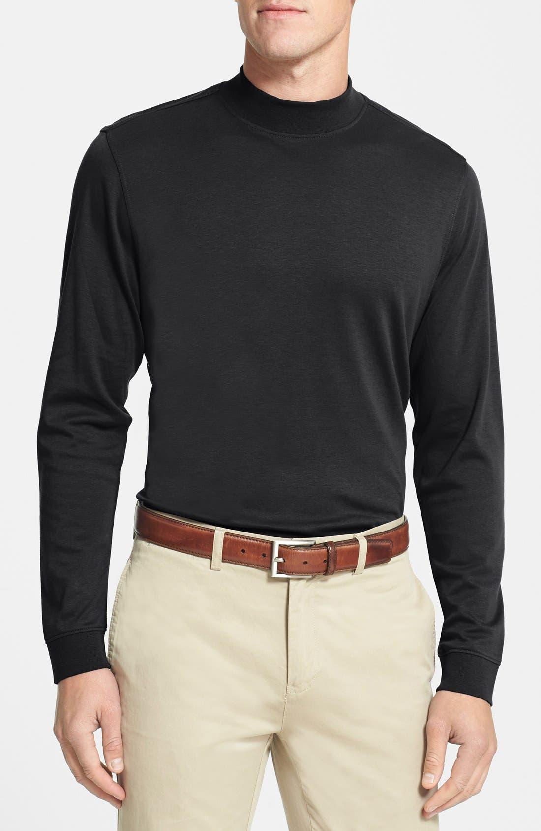 Belfair Long Sleeve Mock Neck Pima Cotton T-Shirt,                         Main,                         color, Black