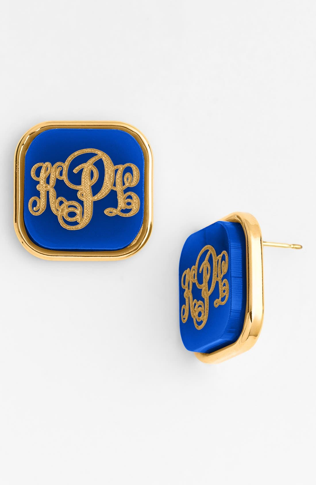 Moon and Lola 'Vineyard' Personalized Monogram Stud Earrings