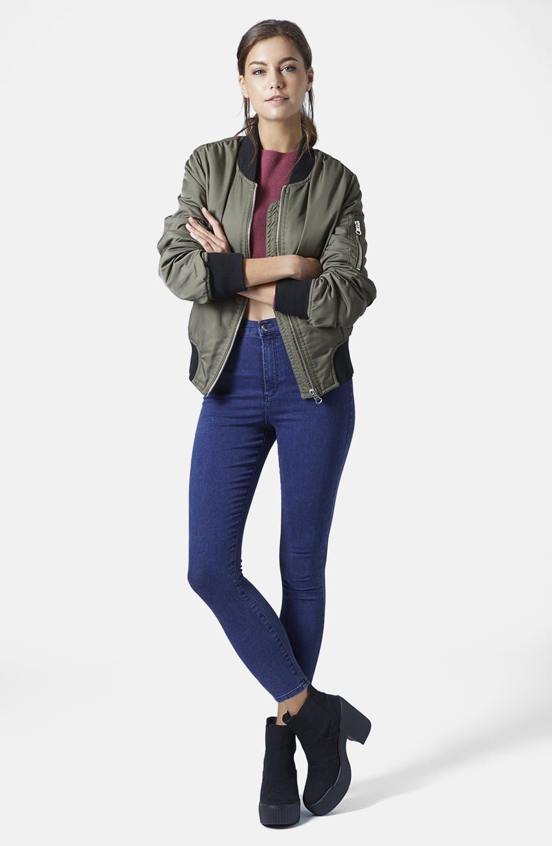 Alternate Image 5  - Topshop Moto 'Joni' High Rise Skinny Jeans (Dark Stone)