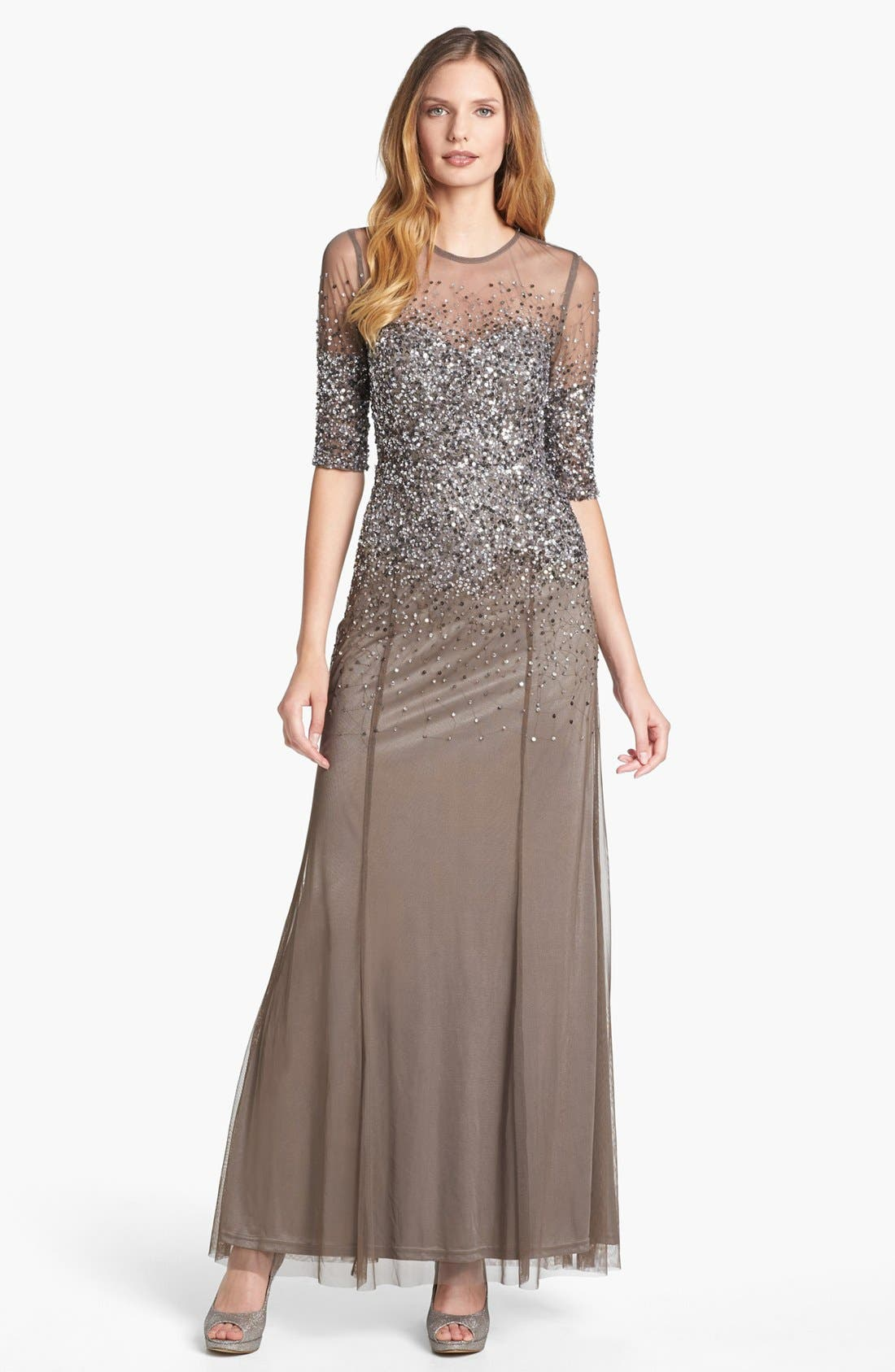 Alternate Image 1 Selected - Adrianna Papell Beaded Illusion Bodice Mesh Gown