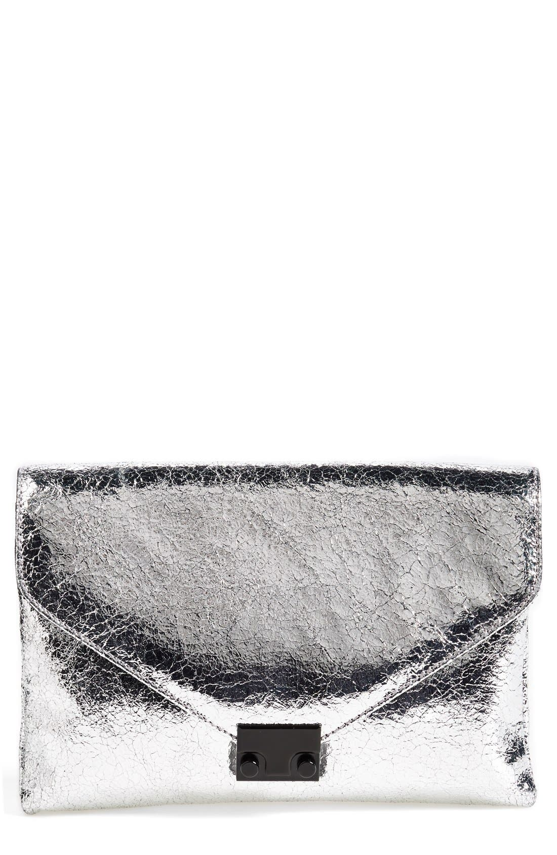 'Lock' Metallic Leather Clutch,                             Main thumbnail 1, color,                             Silver