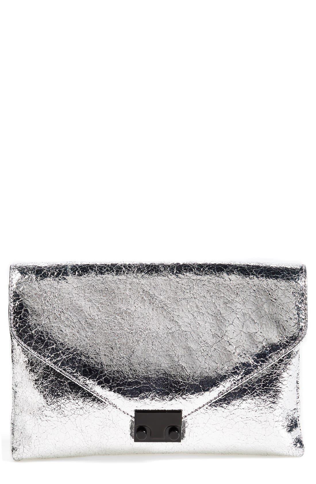 'Lock' Metallic Leather Clutch,                         Main,                         color, Silver