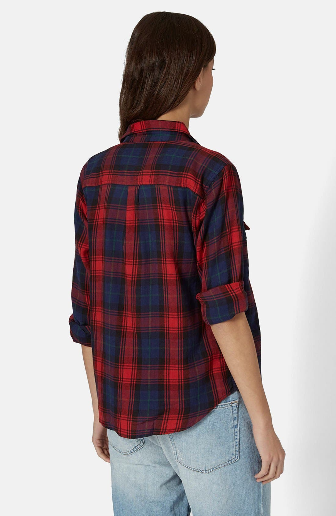 Alternate Image 2  - Topshop 'Izzy' Long Sleeve Check Shirt