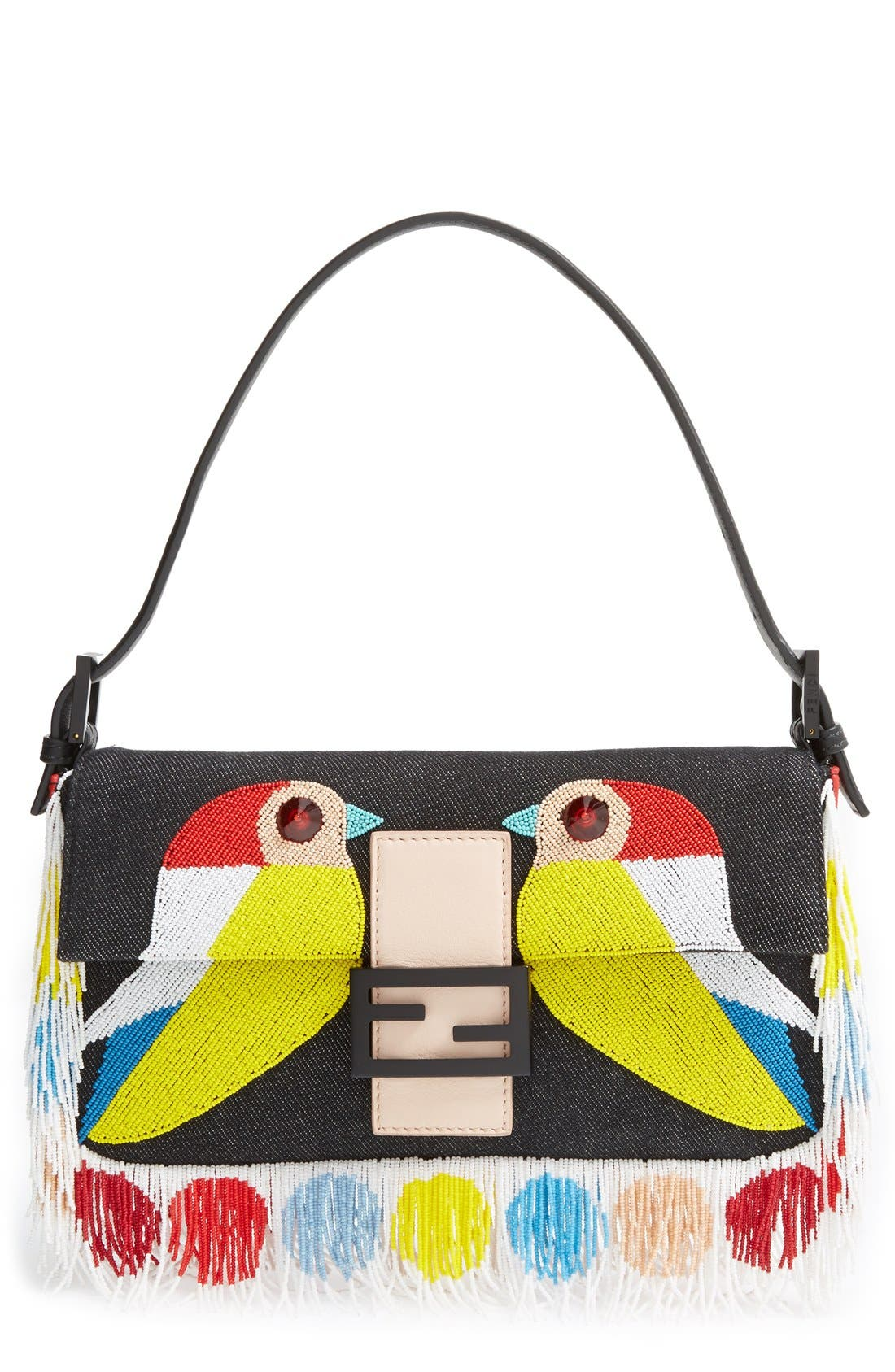'Bird' Beaded Baguette,                         Main,                         color, Black/ Multi