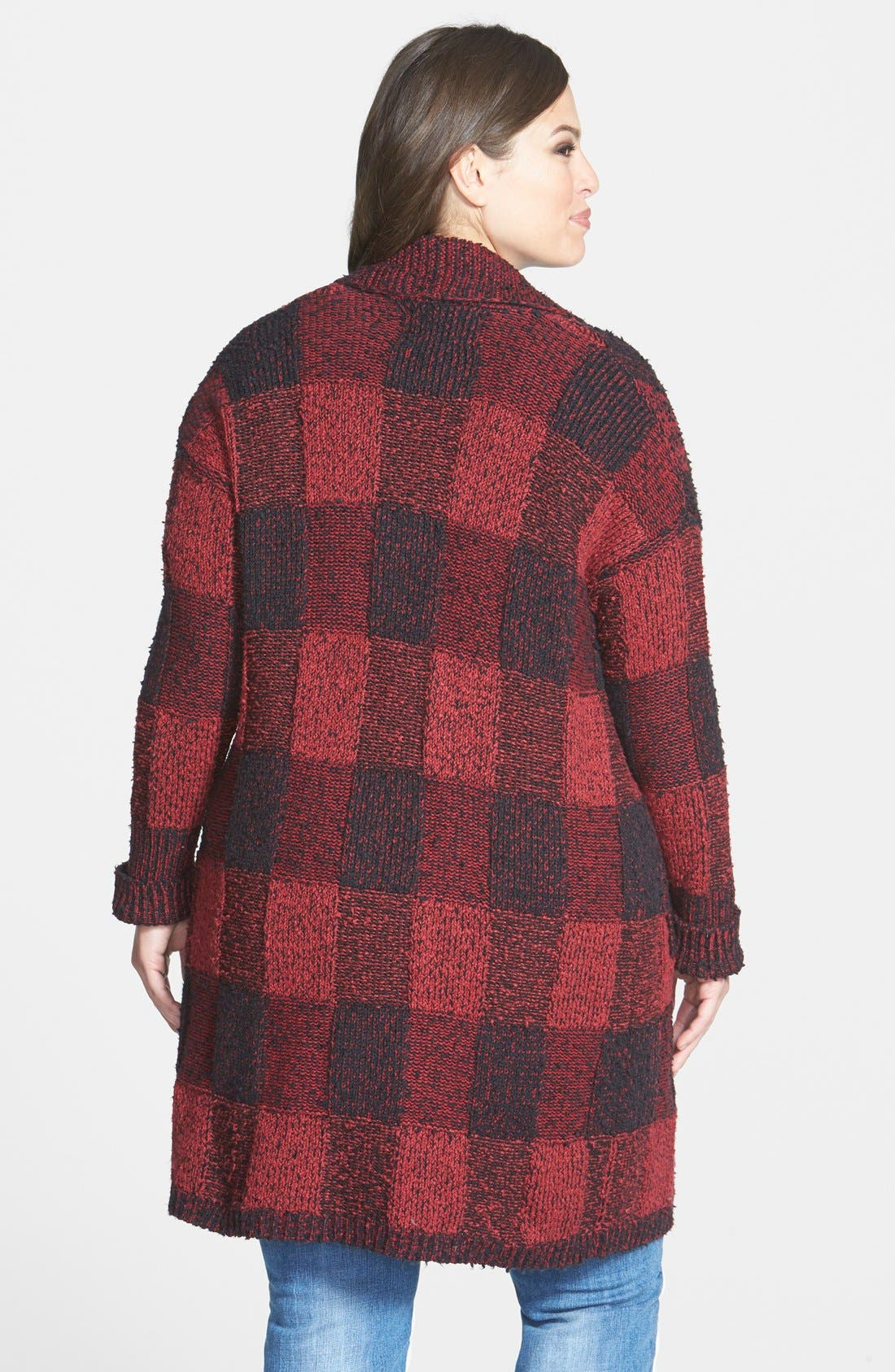 Long Plaid Bouclé Cardigan,                             Alternate thumbnail 2, color,                             Red/ Black