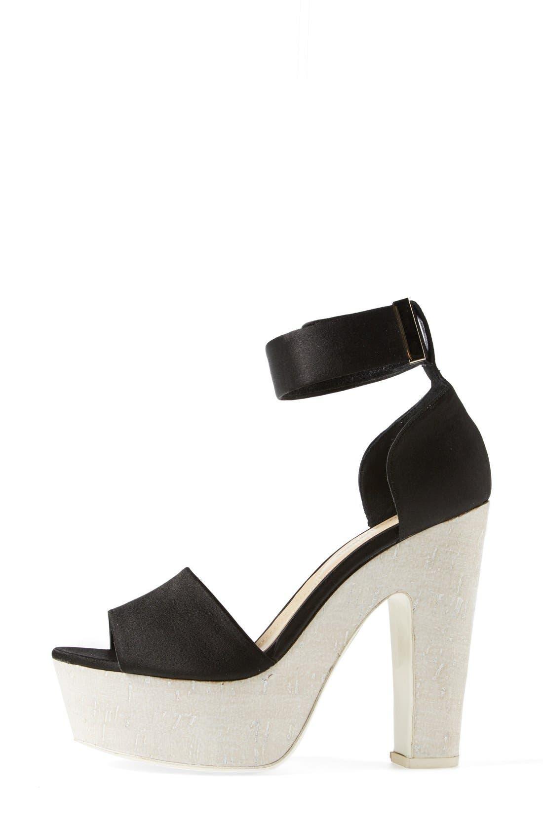 'Pearl' Platform Ankle Strap Sandal,                             Alternate thumbnail 4, color,                             Black