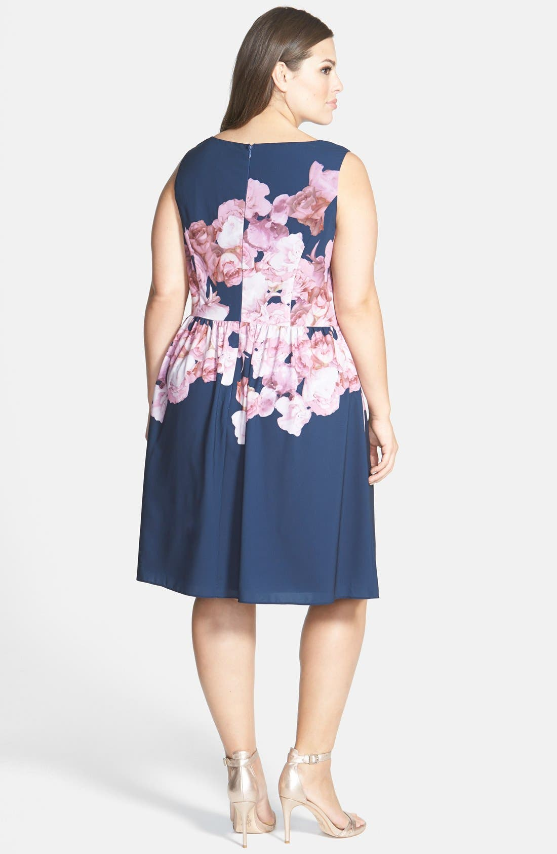 Alternate Image 2  - Adrianna Papell Floral Print Chiffon Fit & Flare Dress (Plus Size)