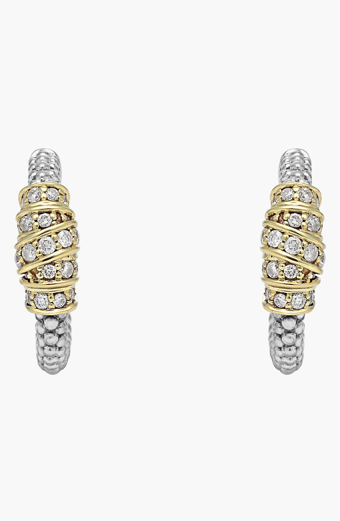 Alternate Image 2  - Lagos 'Embrace' Diamond & Caviar™ Hoop Earrings (Online Only)