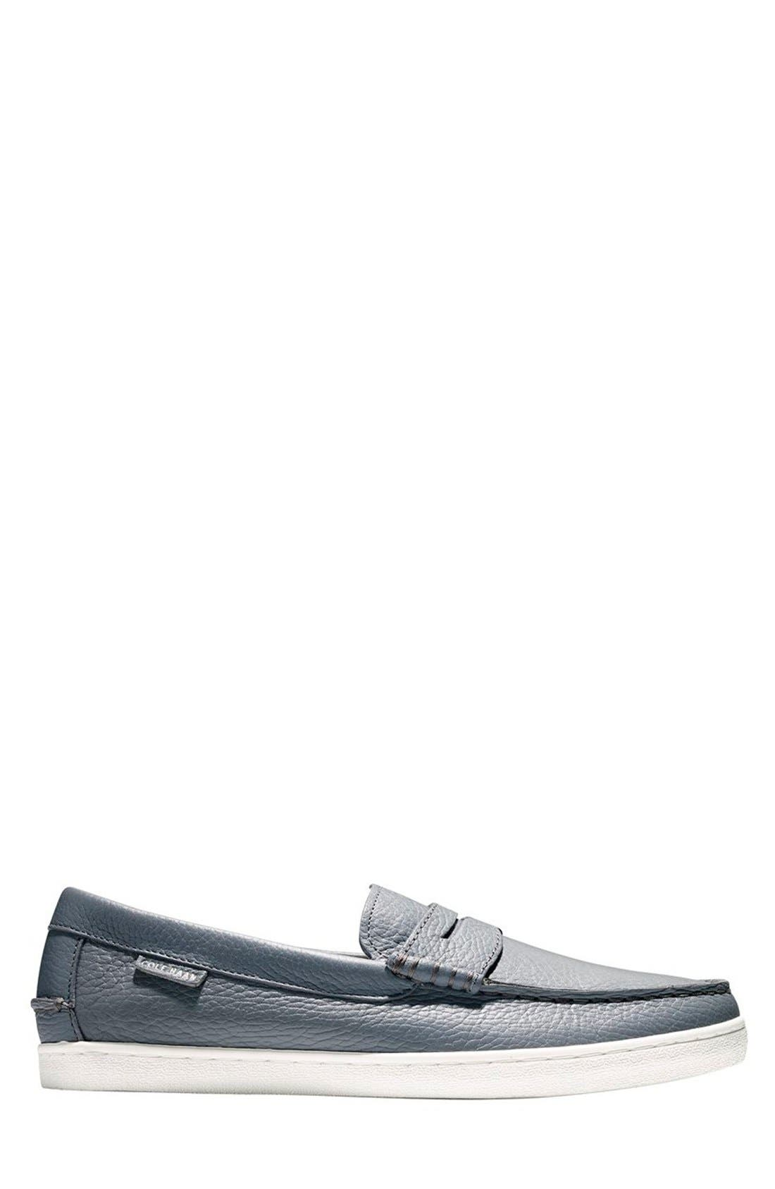 'Pinch' Penny Loafer,                             Alternate thumbnail 2, color,                             Grey Leather/ White