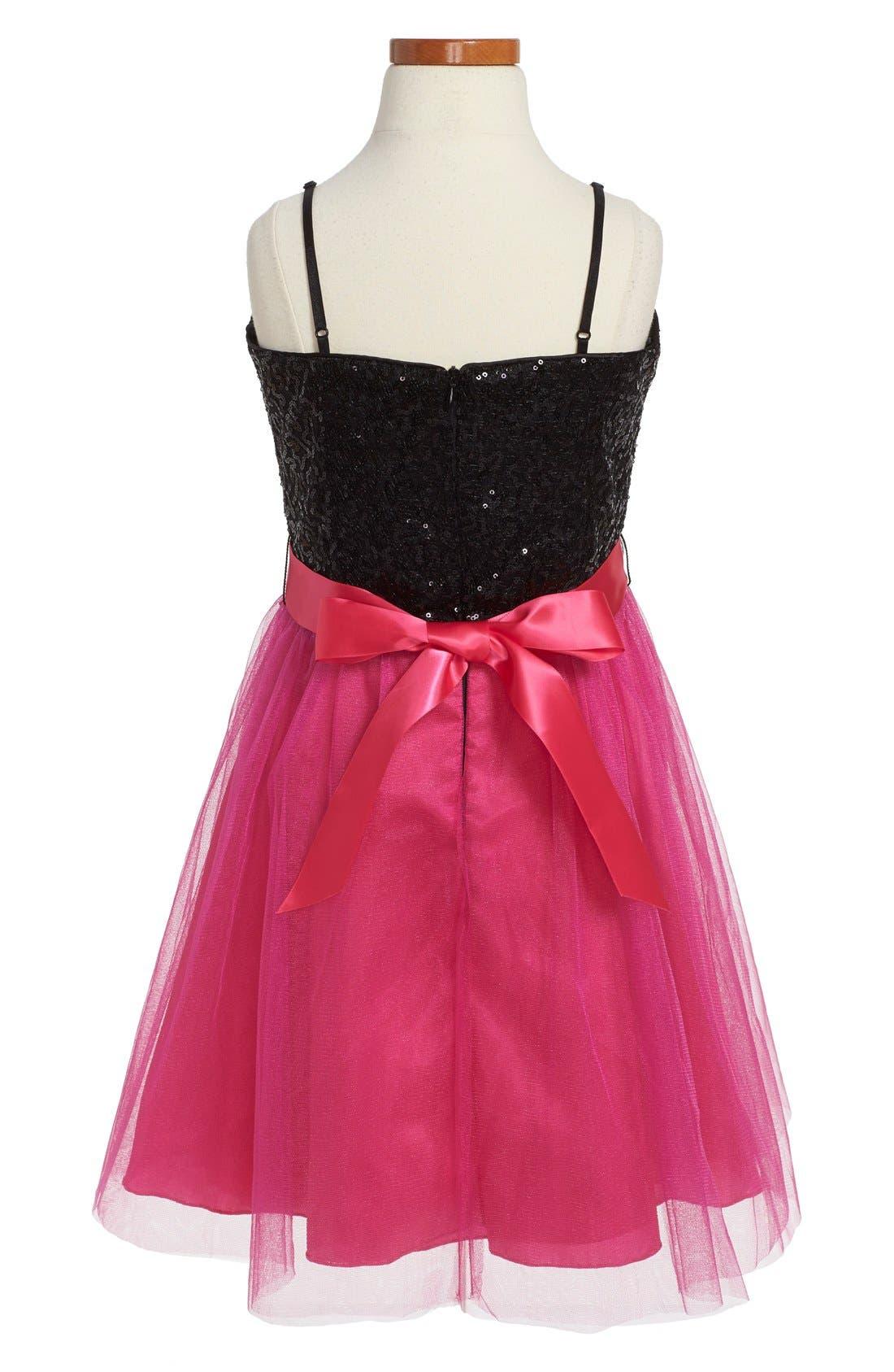 Alternate Image 2  - Un Deux Trois Sequin Party Dress (Big Girls)