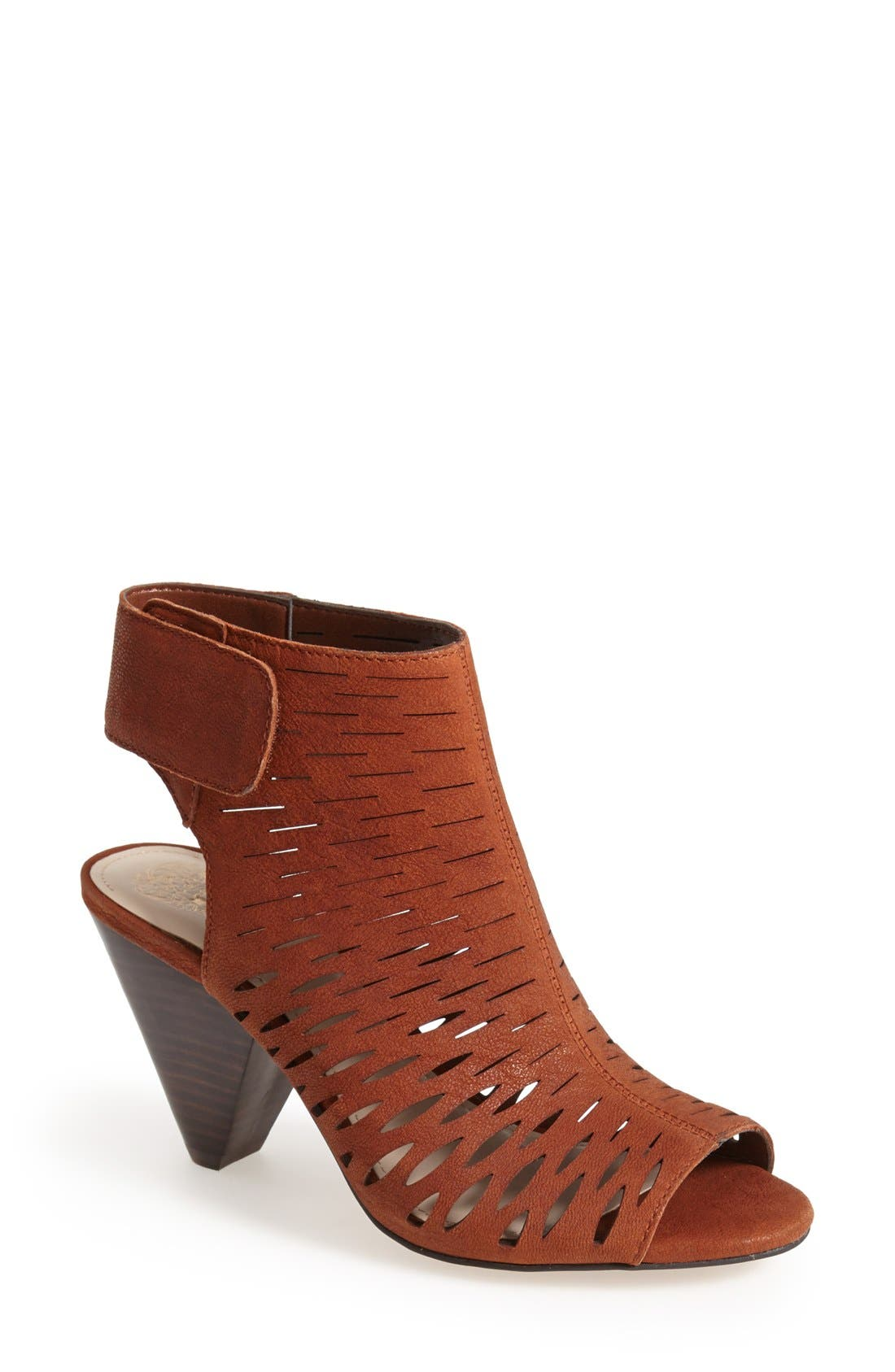 'Estell' Open Toe Bootie,                             Main thumbnail 1, color,                             Dark Brown