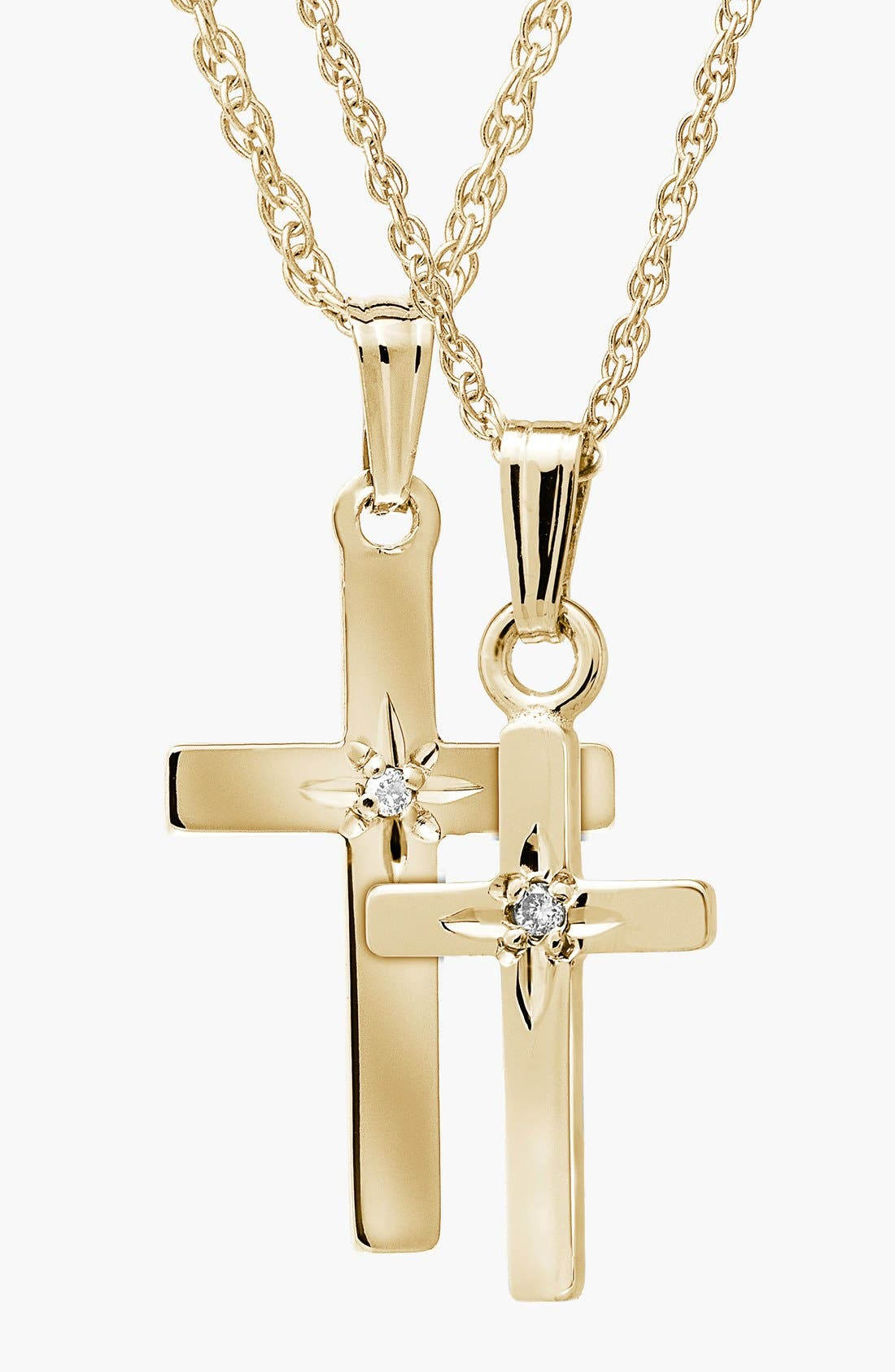14k Gold & Diamond Cross Mother & Daughter Necklace Set,                         Main,                         color, Gold