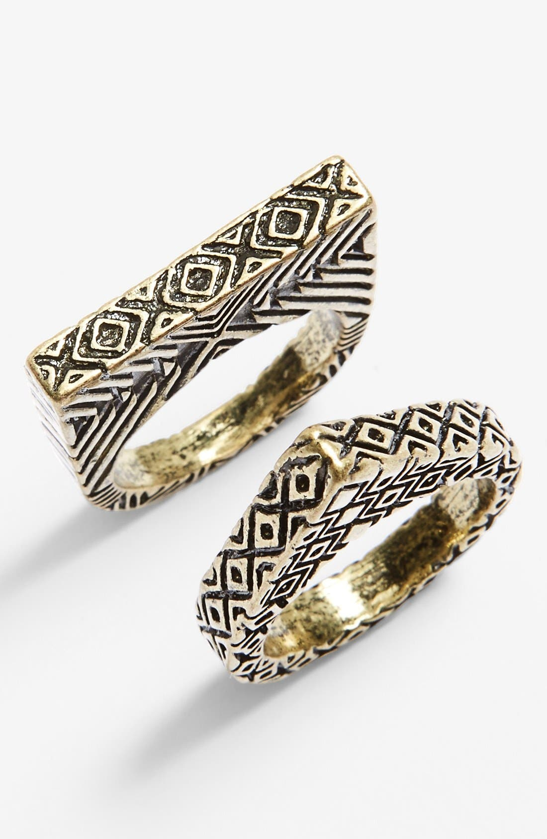 Main Image - Spring Street Geo Etched Rings (Set of 2)