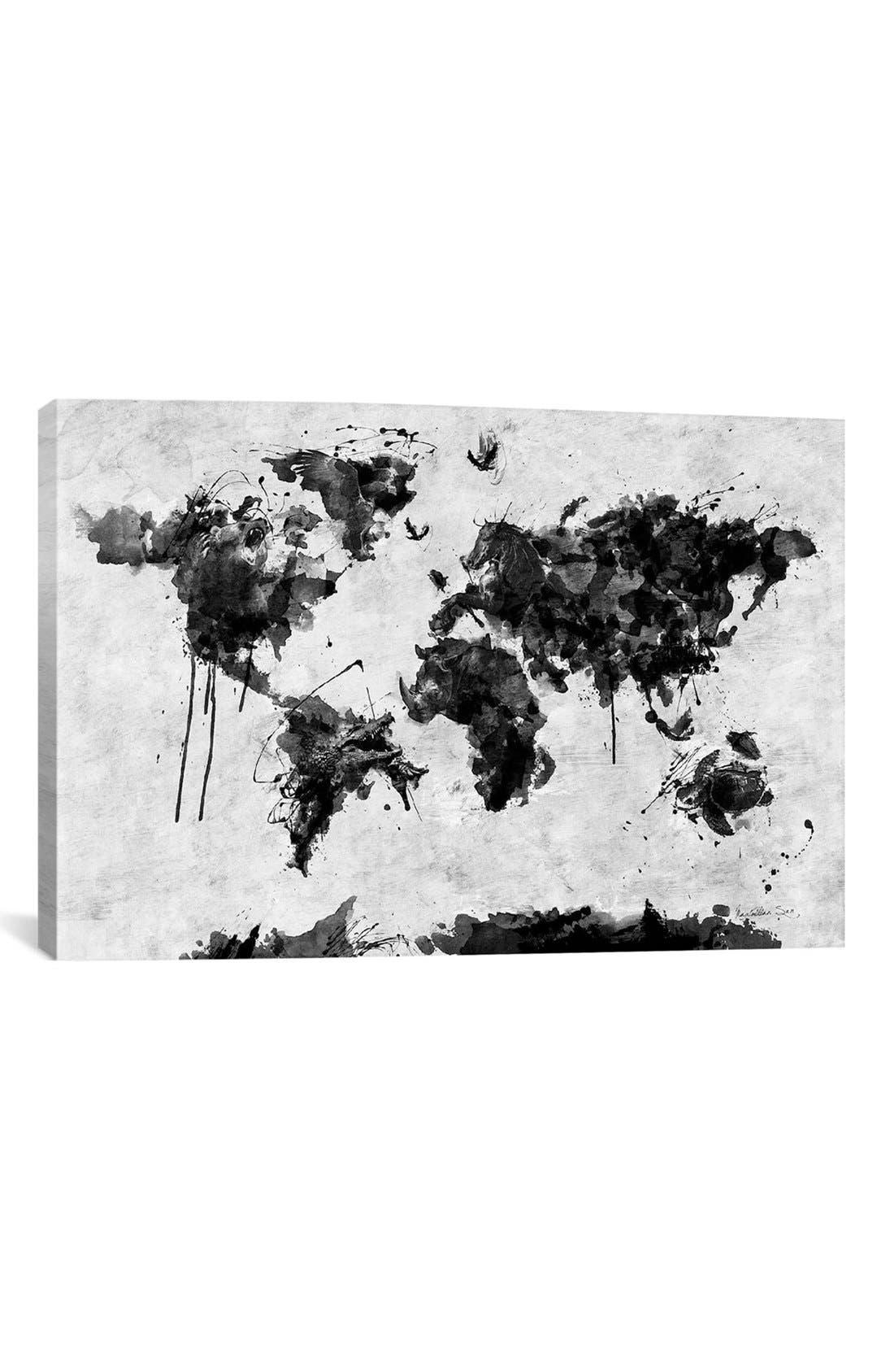 'Wild World - Diego Tirigall' Giclée Print Canvas Art,                             Main thumbnail 1, color,                             White/ Black