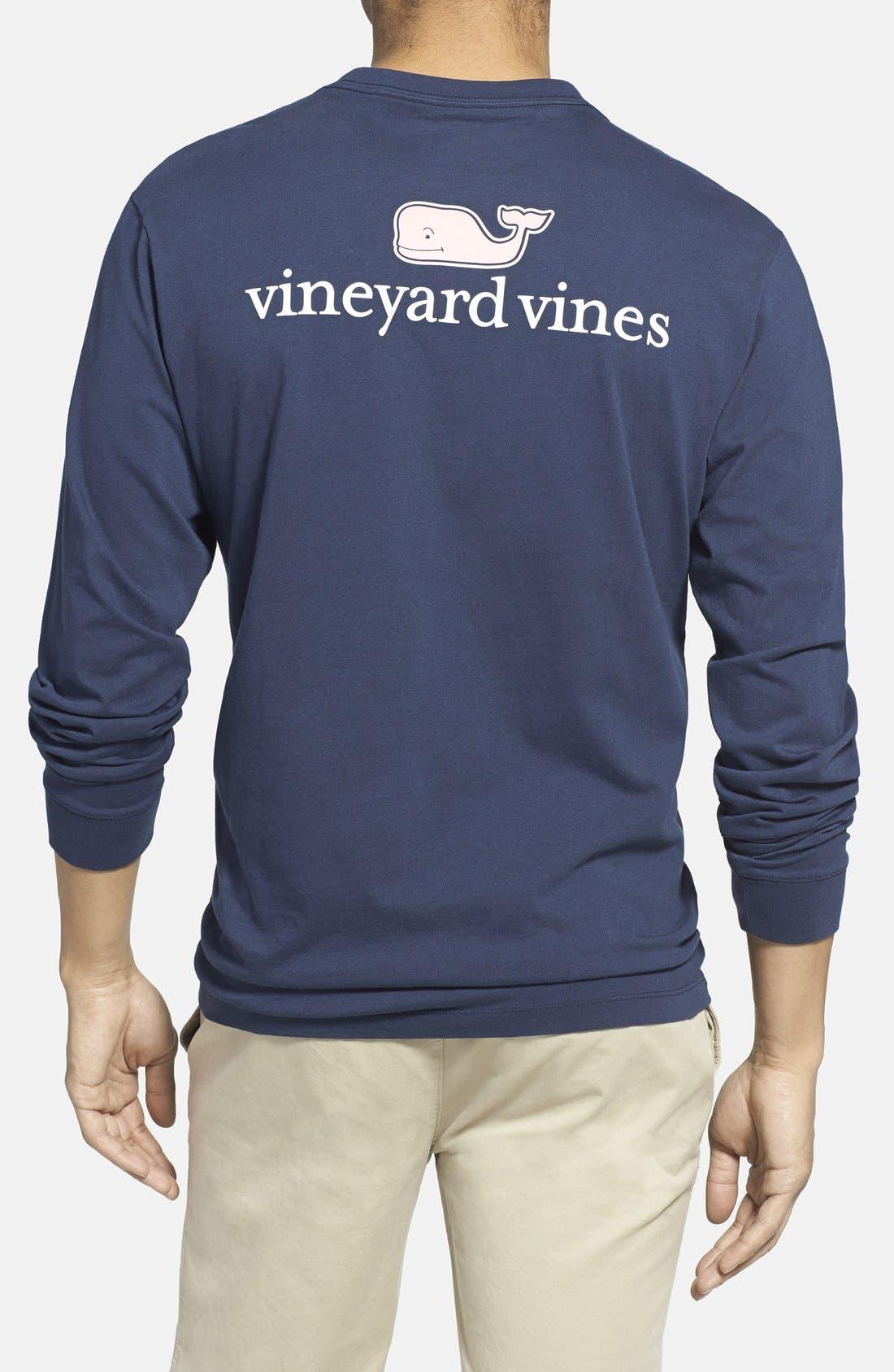 Logo Pocket Long Sleeve Crewneck T-Shirt,                         Main,                         color, Vineyard Navy
