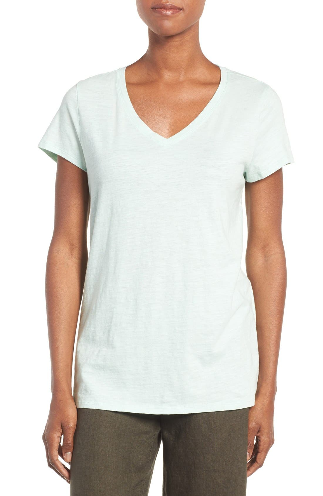 Main Image - Eileen Fisher Organic Cotton V-Neck Tee (Regular & Petite) (Nordstrom Exclusive)