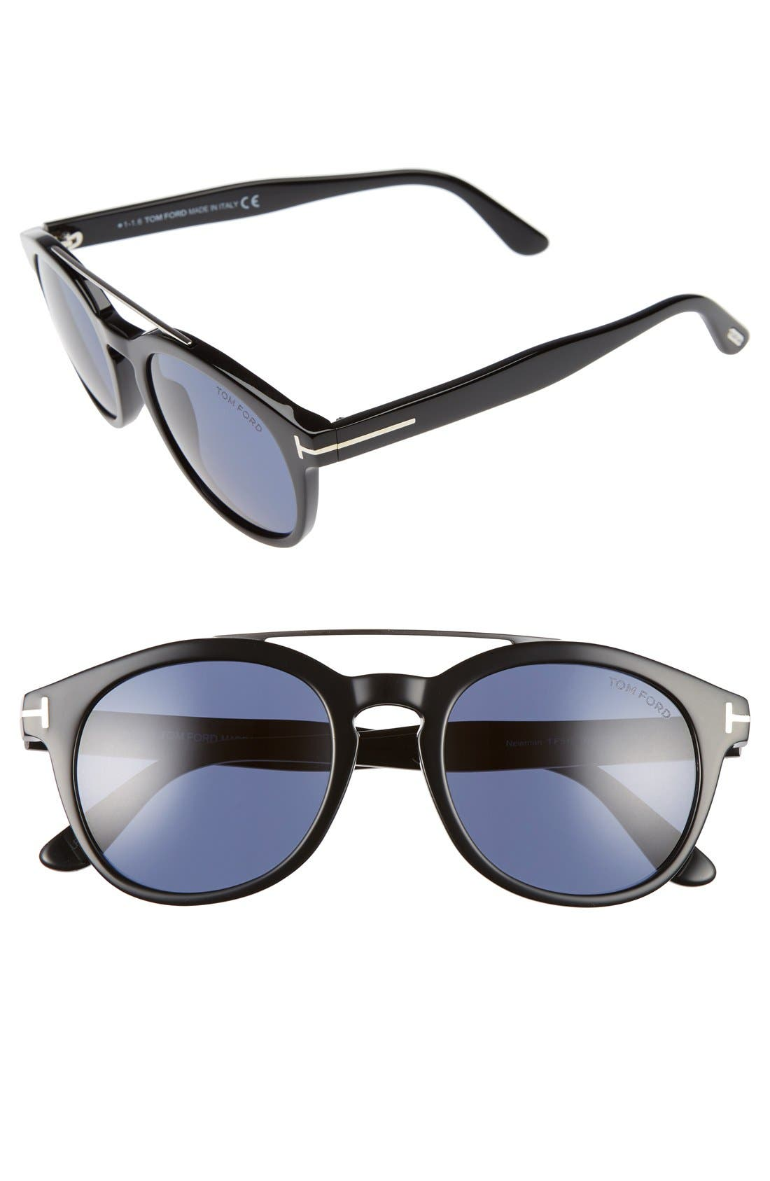 Newman 53mm Sunglasses,                         Main,                         color, Black/ Rhodium/ Blue