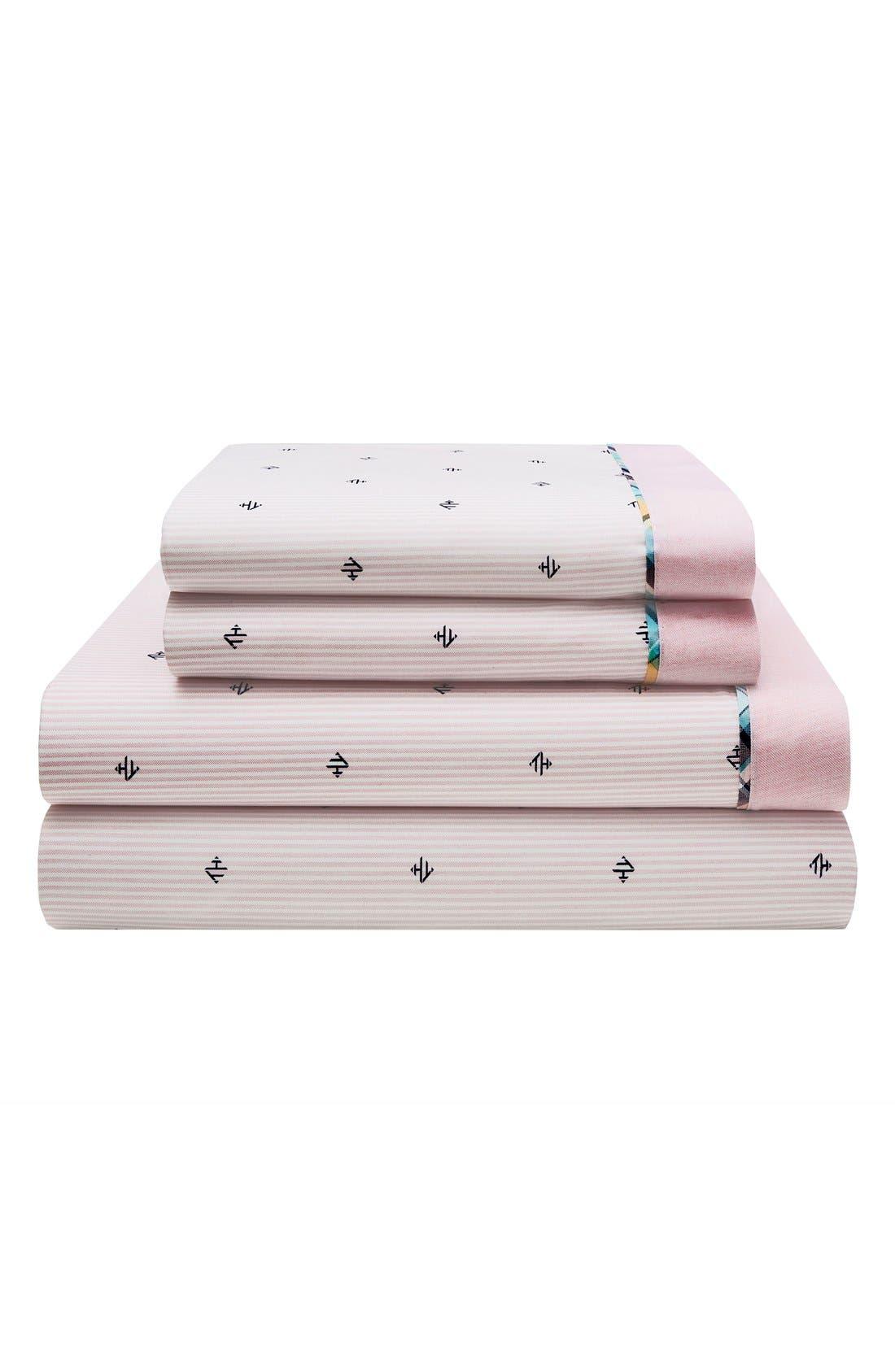 Harrington Monogram Sheet Set,                             Main thumbnail 1, color,                             Pink