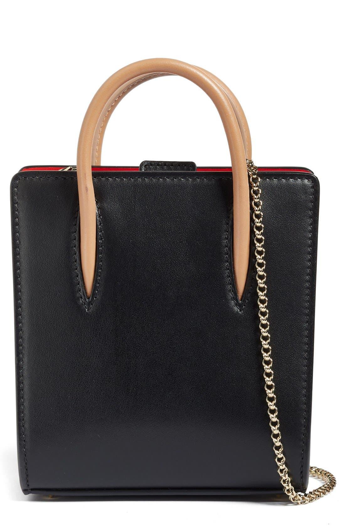 Nano Paloma Calfskin Leather Tote,                         Main,                         color, Black/Brown