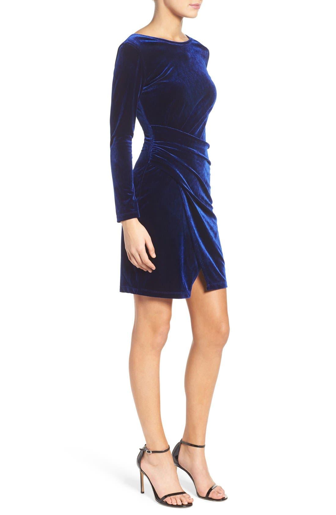 Velvet Body-Con Dress,                             Alternate thumbnail 3, color,                             Navy