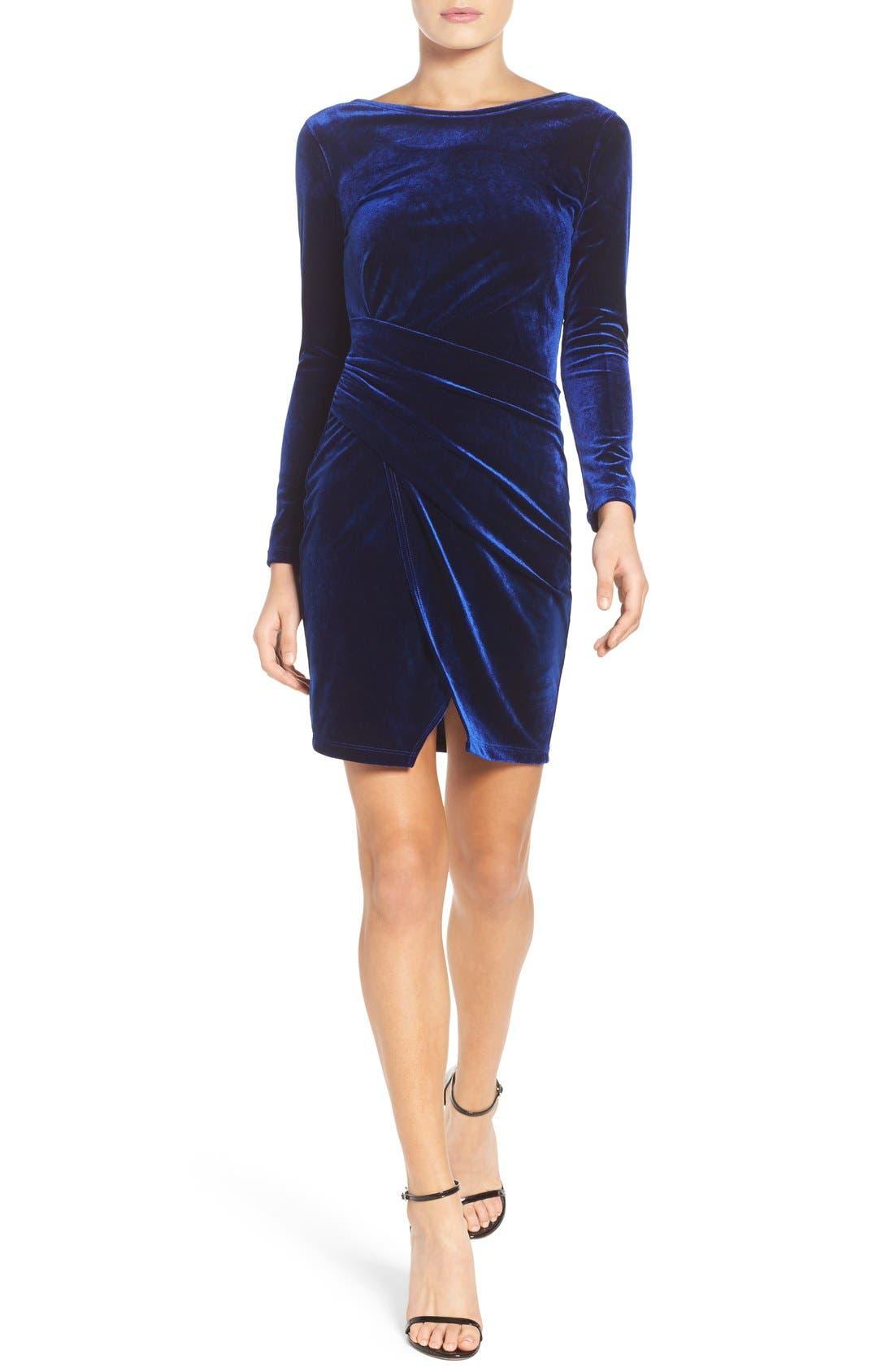 Velvet Body-Con Dress,                             Alternate thumbnail 4, color,                             Navy