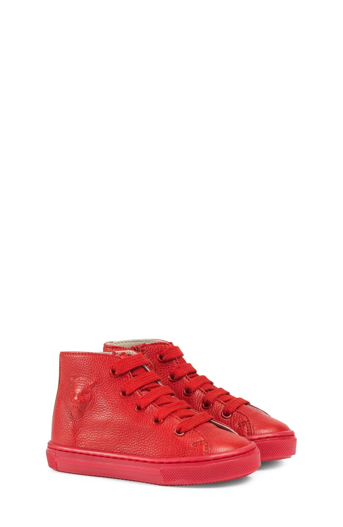 Major High Top Sneaker,                             Main thumbnail 1, color,                             Red Leather